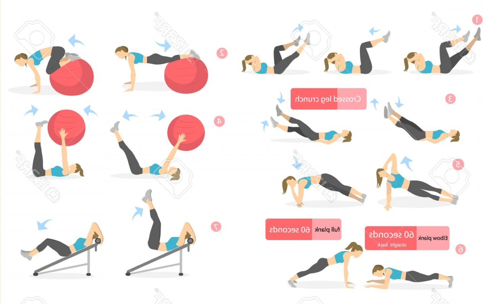 Pack 6 Vectorabs: Photostock Vector Abs Workout For Women Woman In Sport Outfit Doing Abs Exercises In Gym All Kinds Of Abdominal Traini