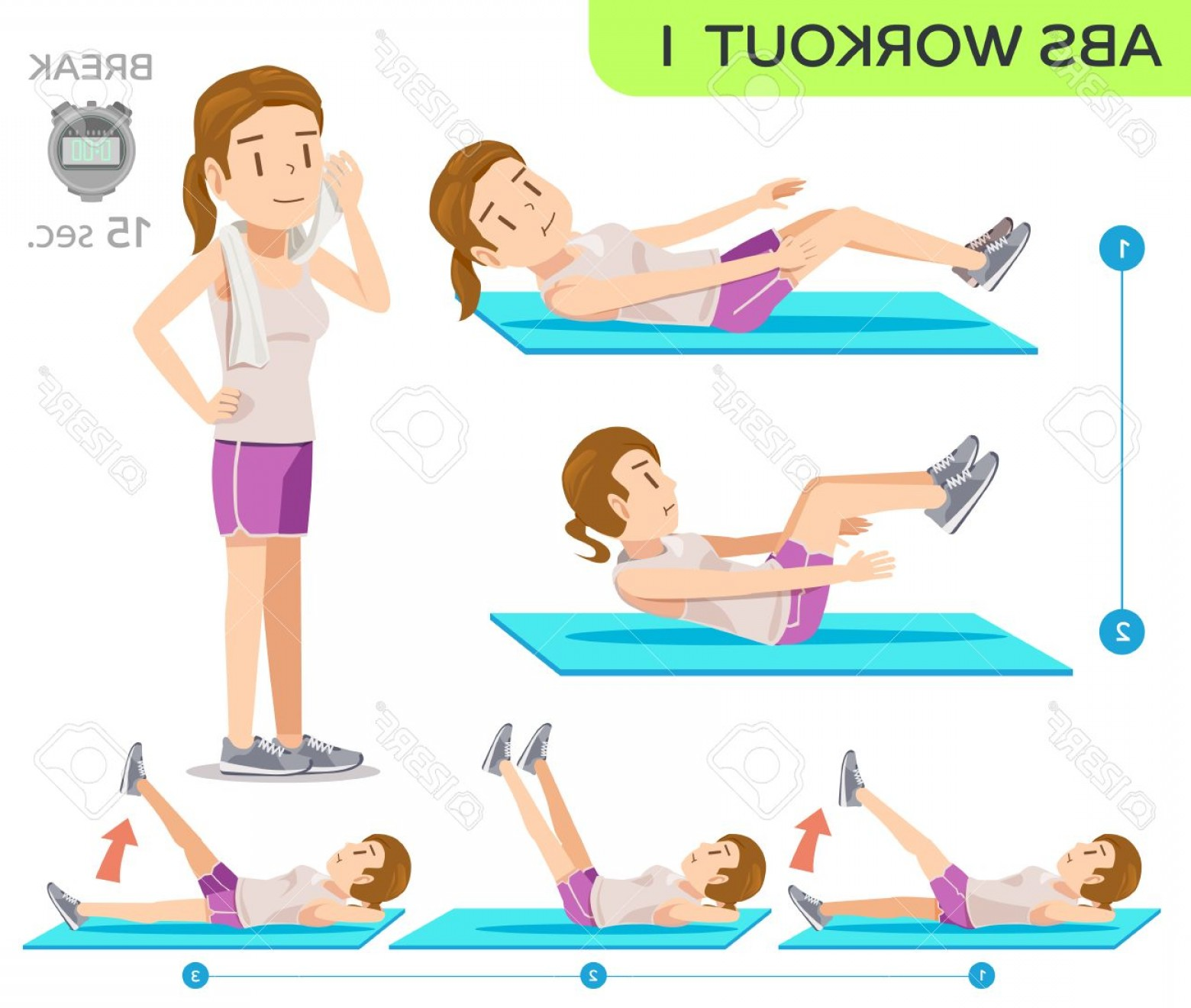 Pack 6 Vectorabs: Photostock Vector Abs Workout No Six Pack Workout At Home Easy Exercise Program Cartoon Character Of Beauty Women Co