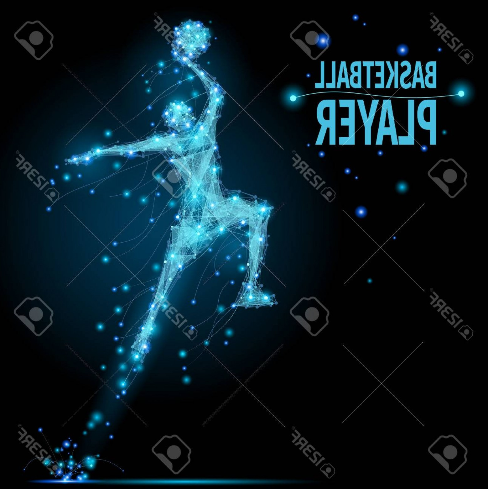 Motion Basketball Vector: Photostock Vector Abstract Basketball Player In Motion With Cybernetic Particles Vector Mesh Spheres From Flying Debri