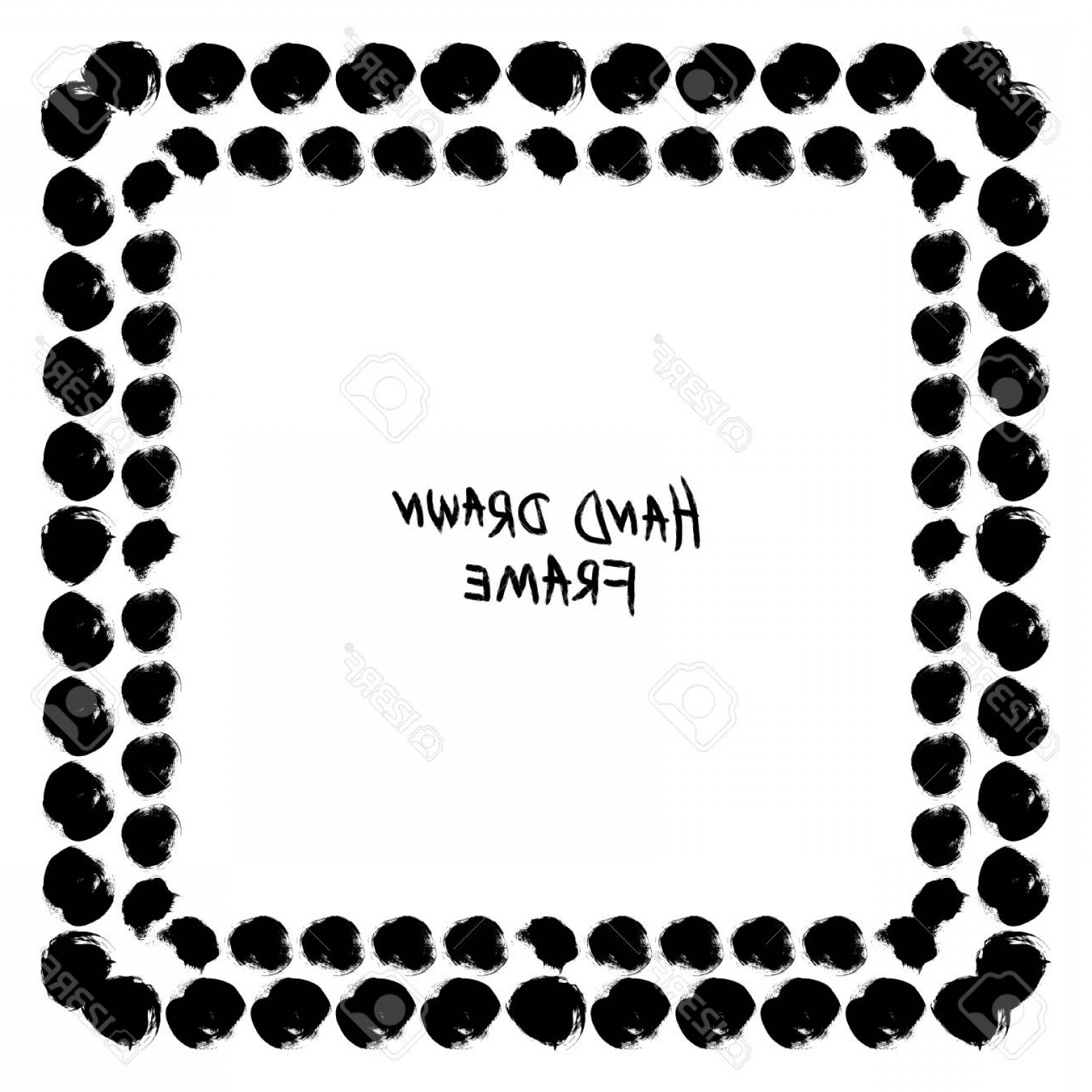Square Black Vector Border Frame: Photostock Vector Abstract Black And White Hand Drawn Frame Square Vector Border With Hand Drawn Circle Brush Strokes