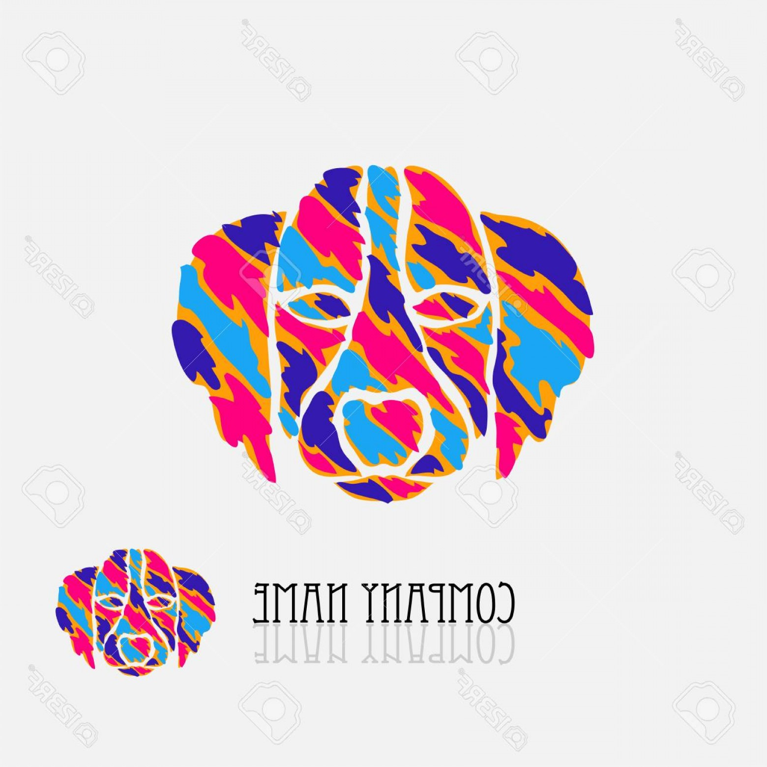Jewelry Manufacturing Icon Vector: Photostock Vector Abstract Dog Sign Symbol In Vivid Colors Design Element Can Be Used For Corporate Identity Company E
