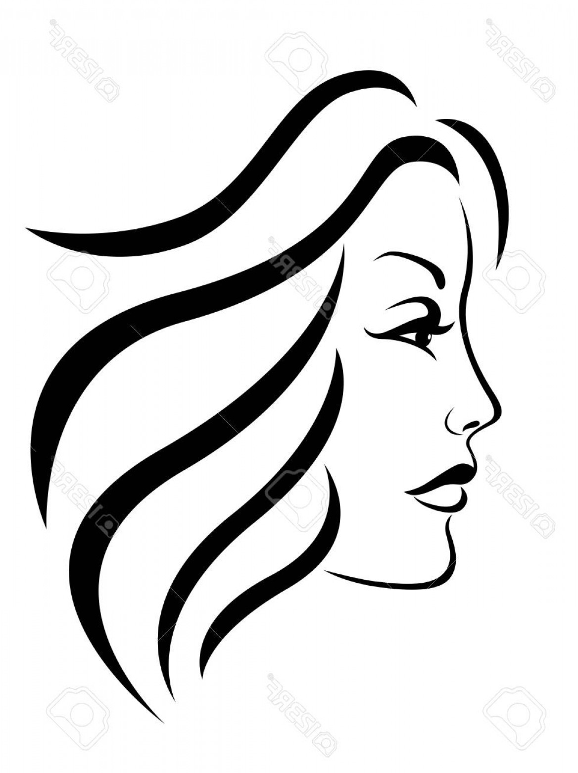 Girl Face Vector Art Black And White: Photostock Vector Abstract Face Of Beautiful And Charming Woman Side View Black Vector Hand Drawing On The White Backg