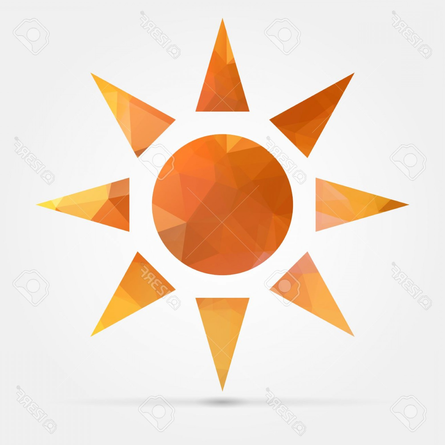 Geometric Sun Vector: Photostock Vector Abstract Geometric Orange Sun From Triangular Faces For Graphic Design