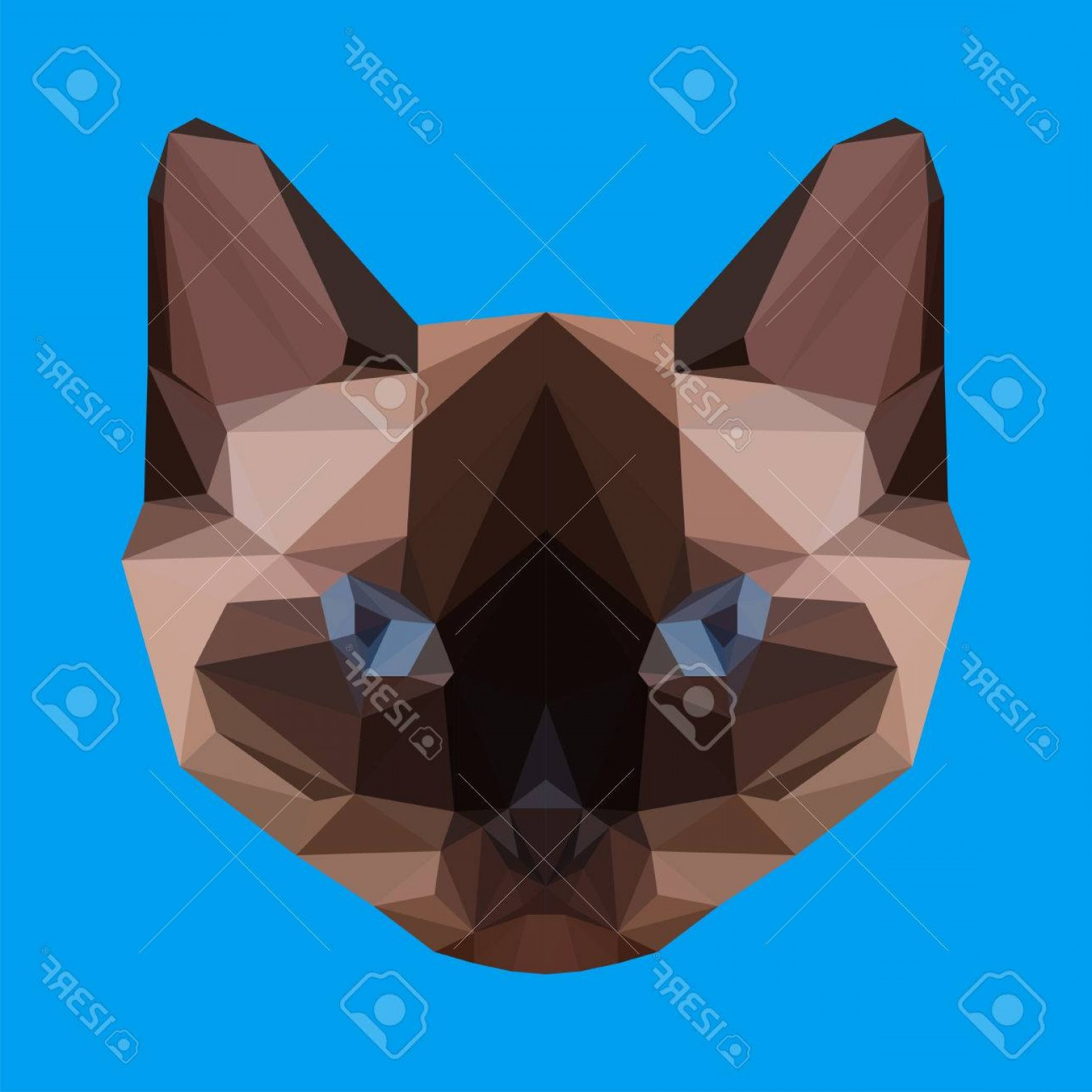 Siamese Cat Vector Transparent Background: Photostock Vector Abstract Geometric Polygonal Siamese Cat Vector Background For Use In Design For Card Invitation Pos