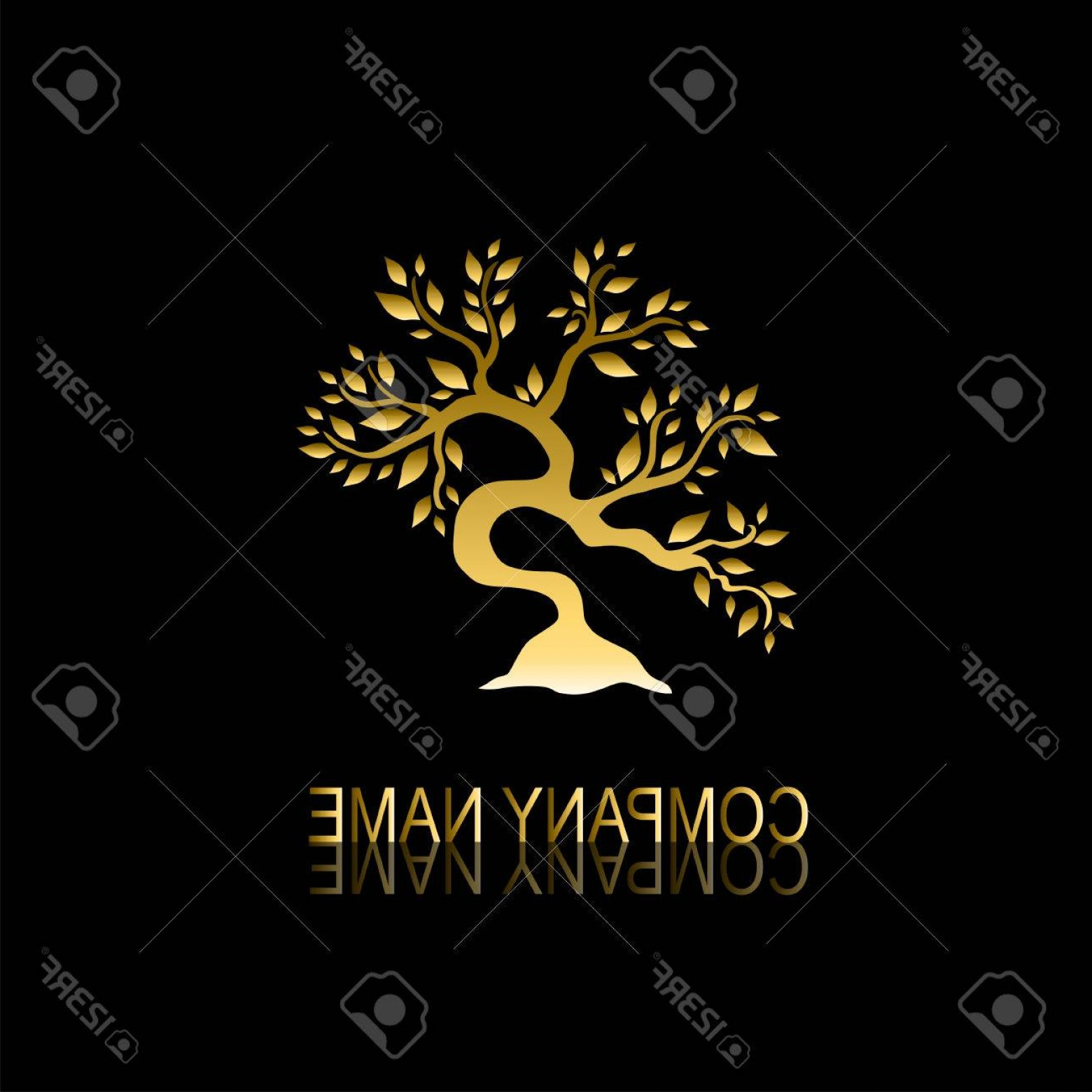 Jewelry Manufacturing Icon Vector: Photostock Vector Abstract Golden Tree Sign Symbol Design Element Can Be Used For Corporate Identity Company Emblem Je