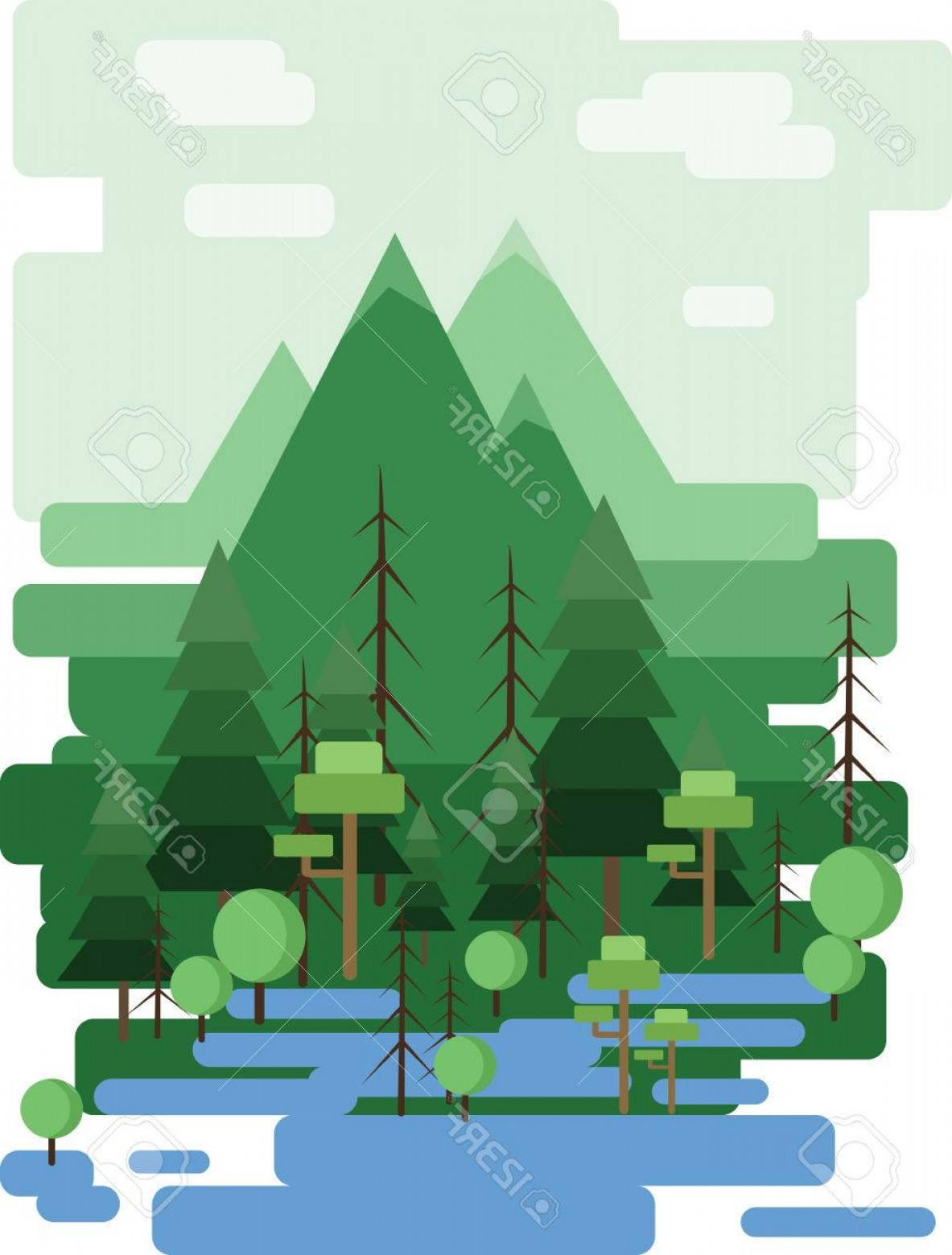 Flat Vector Art And Abstract Forest: Photostock Vector Abstract Landscape Design With Green Trees And Clouds A Forest And A Lake Flat Style Digital Vector
