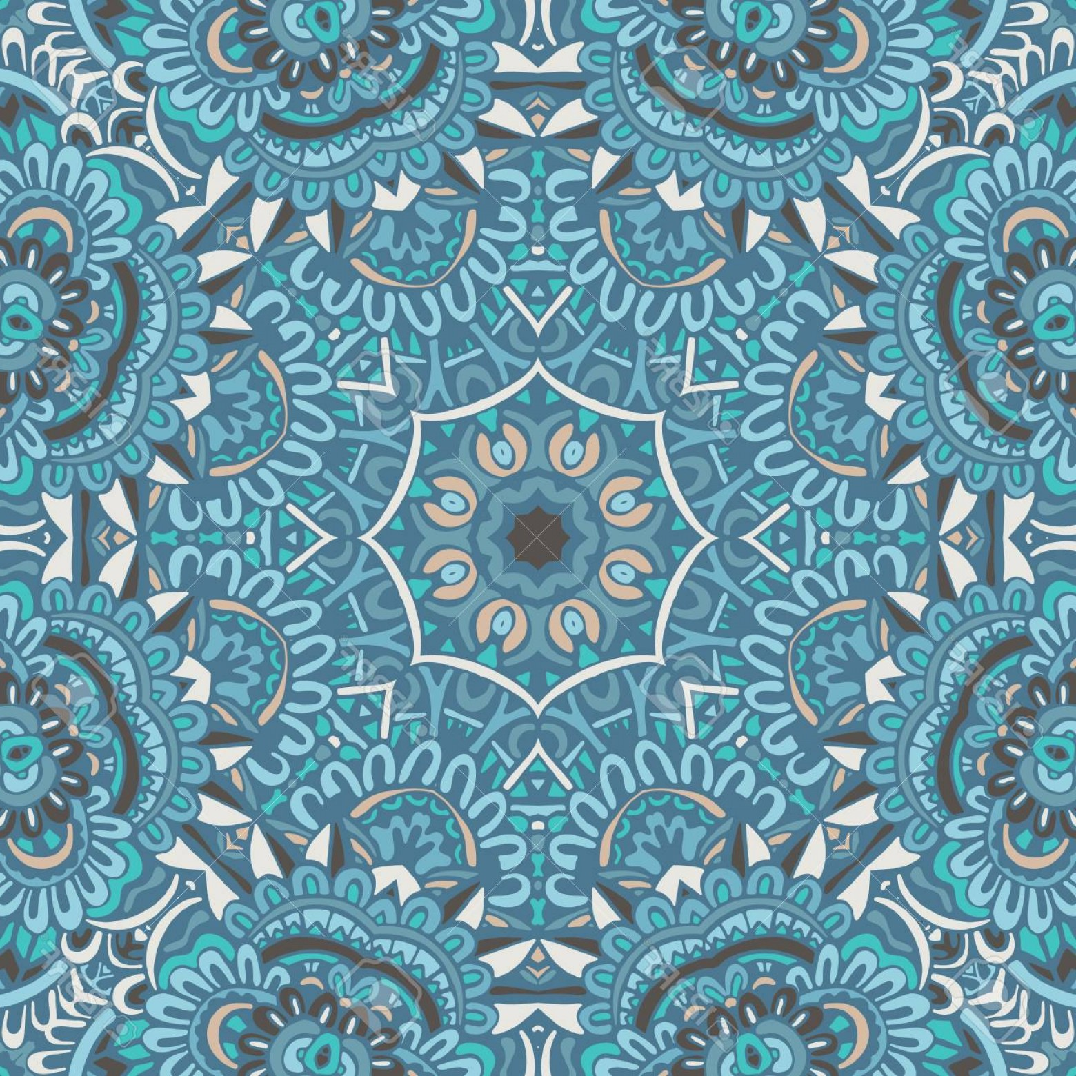 Aqua Victorian Medallions Vectors: Photostock Vector Abstract Medallion Seamless Pattern Flourish Winter Mandala Background