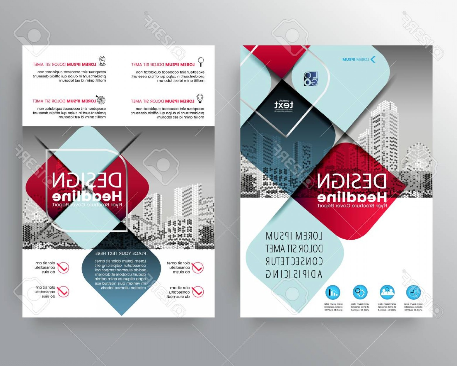 Vector Brochure Cover Designs: Photostock Vector Abstract Red And Blue Cross Graphic Element Vector Brochure Cover Flyer Poster Design Layout Templat
