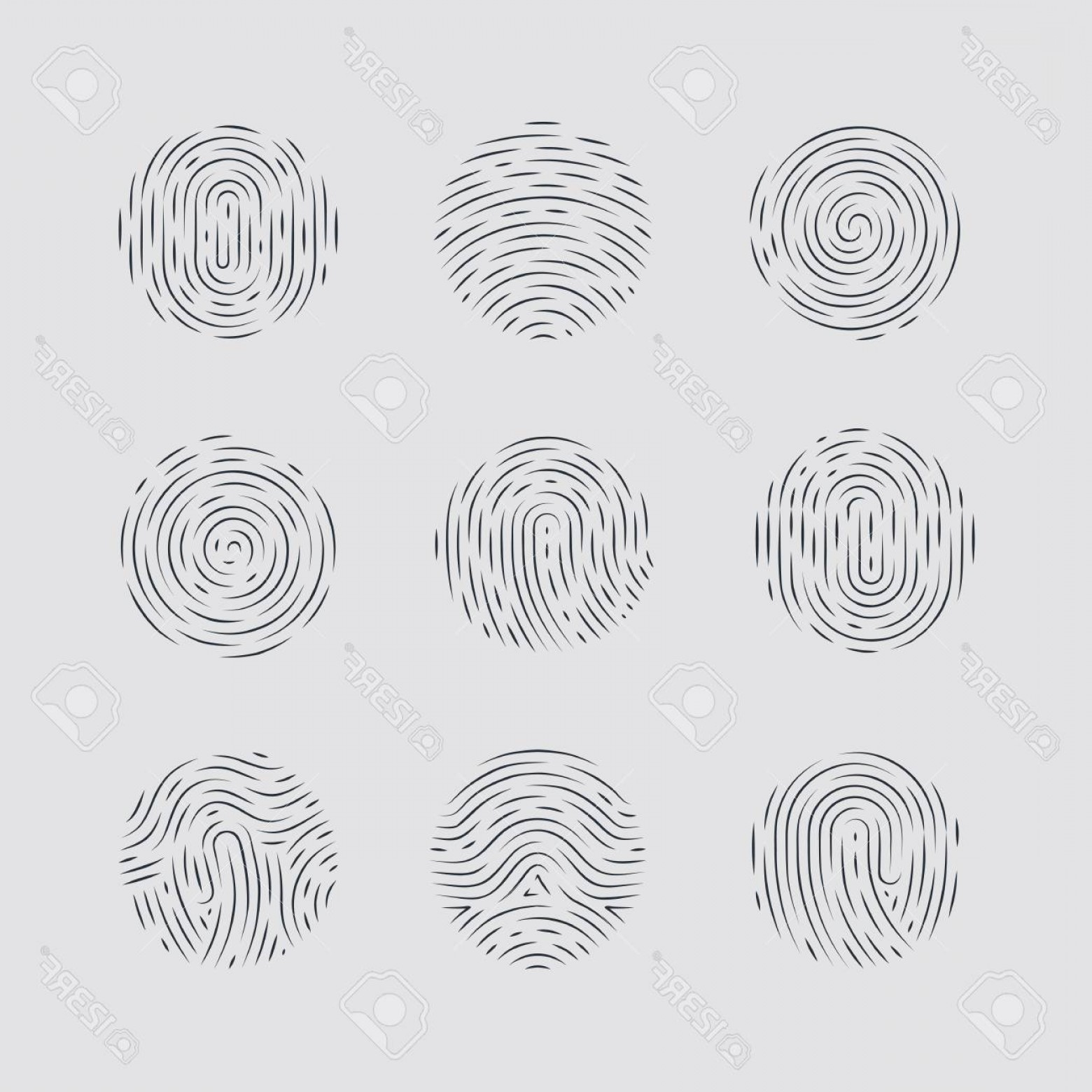 Security Vector Patterns: Photostock Vector Abstract Round Fingerprint Patterns Detailed For Identity Person Security Id On Gray Background