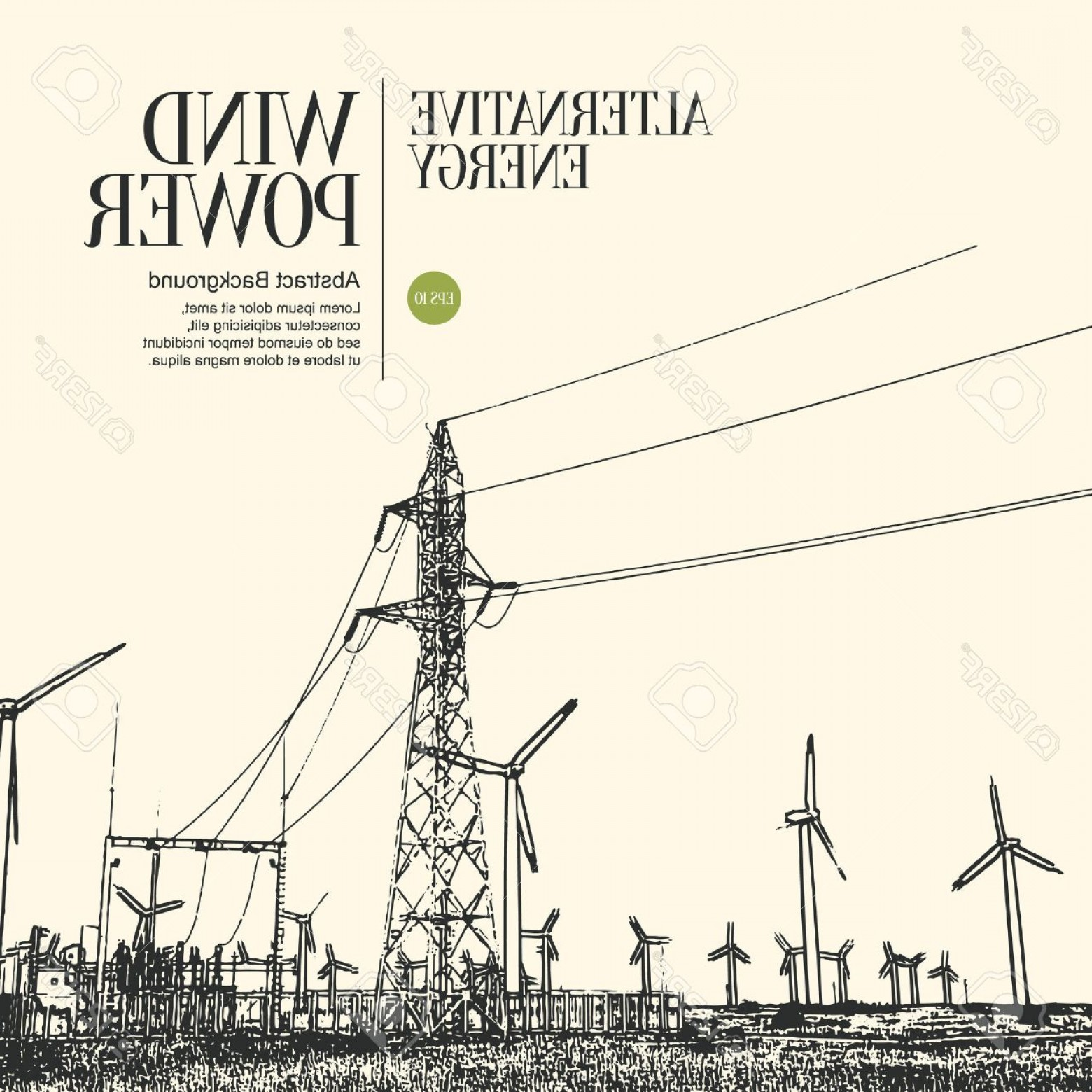 Vector Power Plant Utility: Photostock Vector Abstract Sketch Stylized Background Electric Power Plant And Wind Turbines