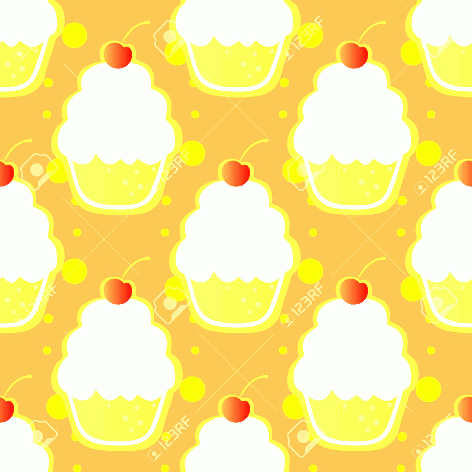 Vector Abstract Art Cake: Photostock Vector Abstract Stylized Cup Cakes On An Orange Background Seamless Pattern