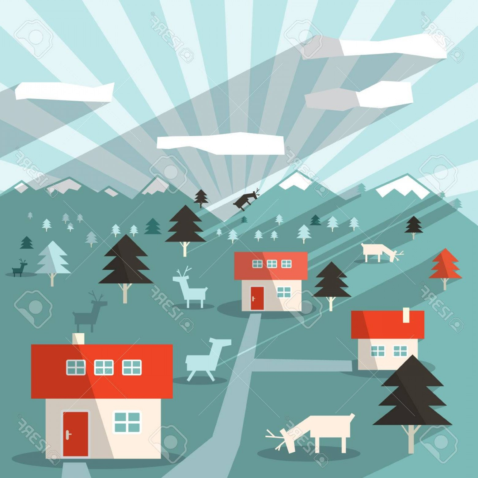 Flat Vector Art And Abstract Forest: Photostock Vector Abstract Vector Flat Design Long Shadow Landscape Illustration With Houses Deers Mountains And Fores