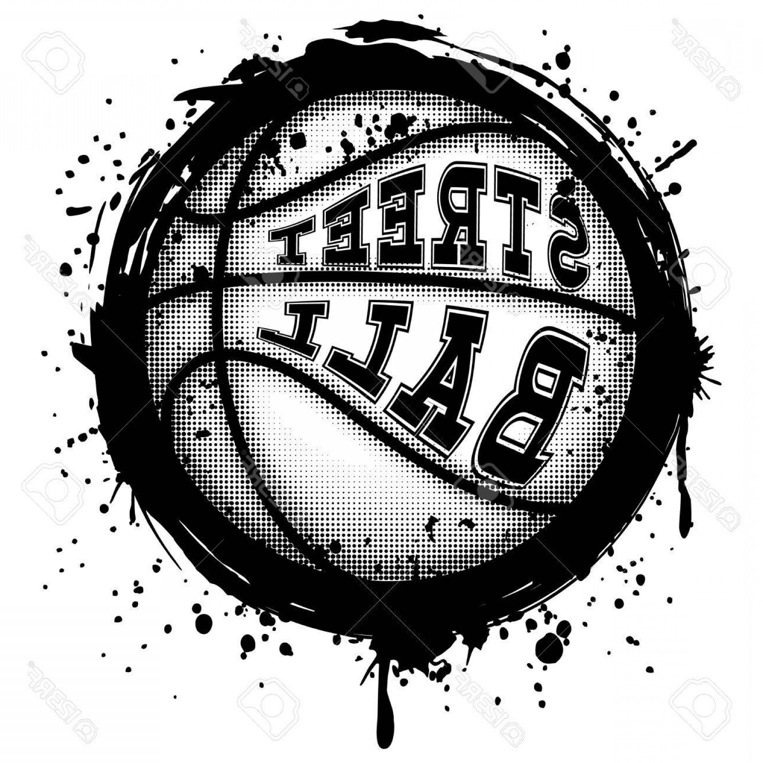 Basketball Vector Graphic Designs: Photostock Vector Abstract Vector Illustration Black And White Basketball Ball On Grunge Background Inscription Street