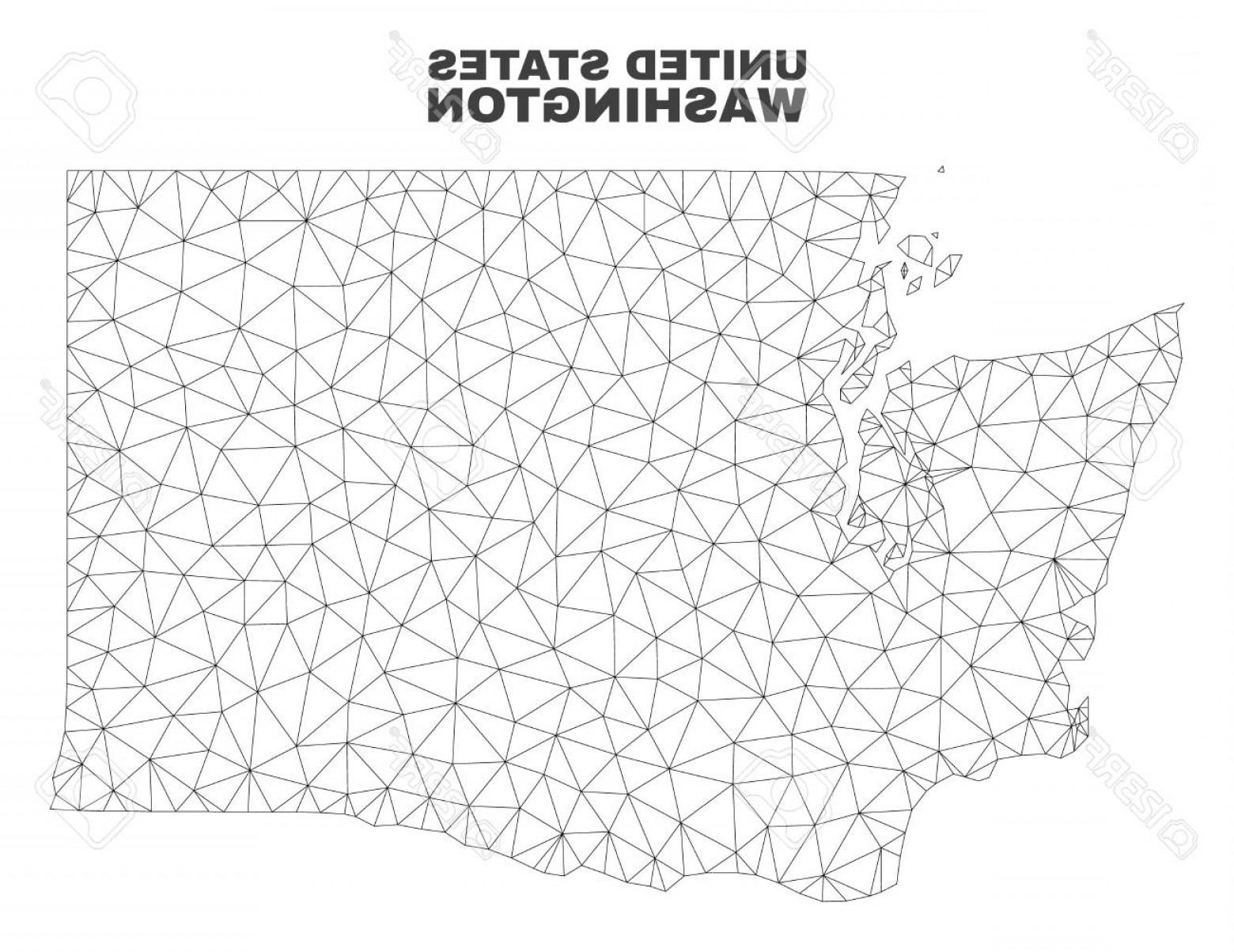 Washington State Map Vector: Photostock Vector Abstract Washington State Map Isolated On A White Background Triangular Mesh Model In Black Color Of