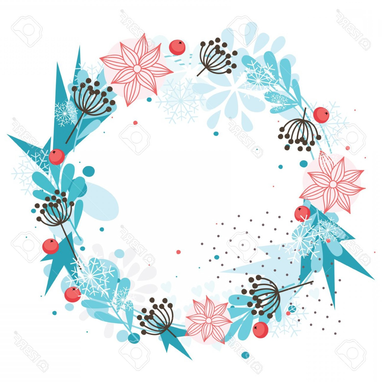 Vector Snowflake Wreath: Photostock Vector Abstract Winter Wreath With Red Berries And Blue Snowflakes
