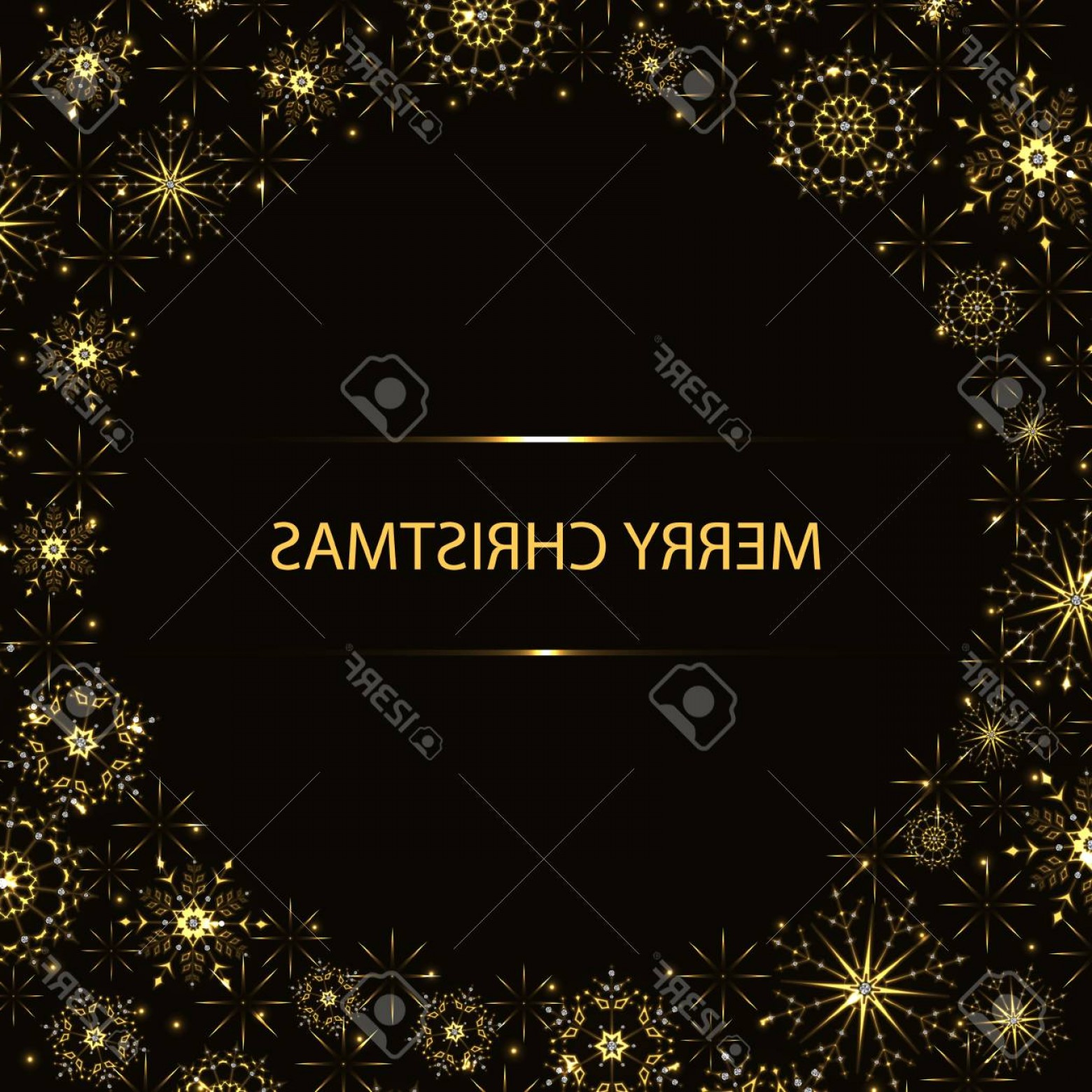 Stars Yellow Christmas Vector: Photostock Vector Abstract Yellow Christmas Background With Glittering Snowflakes And Stars