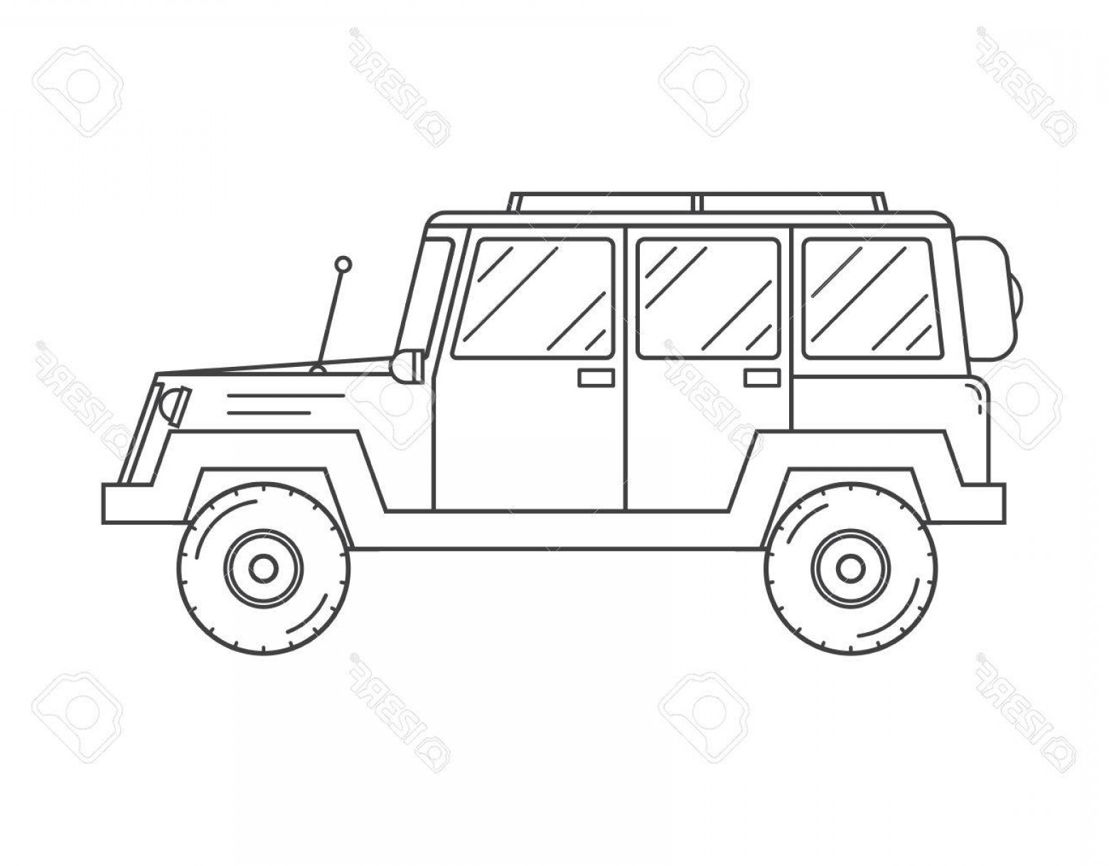 Vector Clip Art Of Jeep: Photostock Vector Adventure Traveler Truck Outline And Thin Line Icon Suv Jeep For Safari And Extreme Travel Pictogram