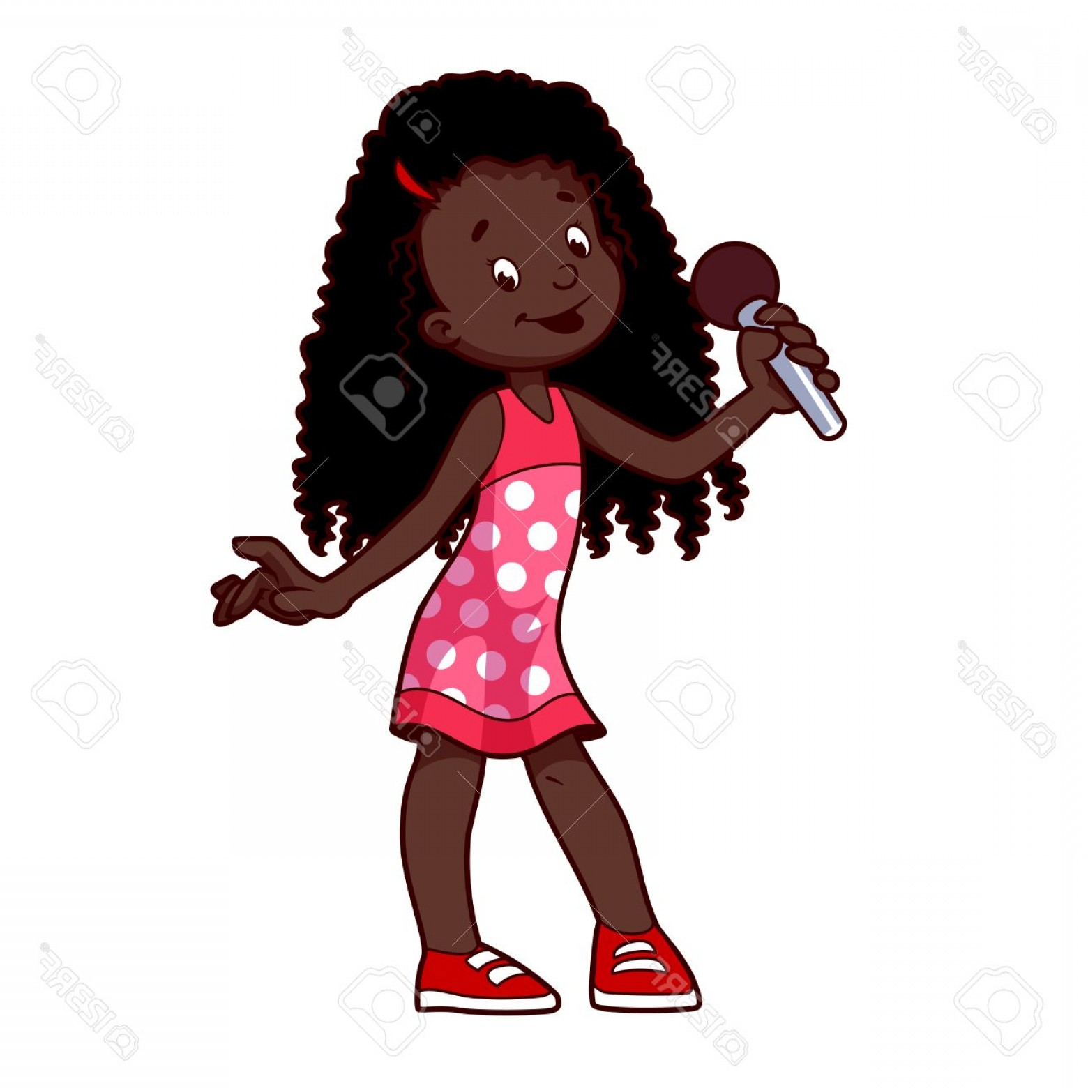 Singing Girls Vector Art: Photostock Vector African American Girl Singing With Microphone Clip Art Illustration On A White Background Cartoon Ch