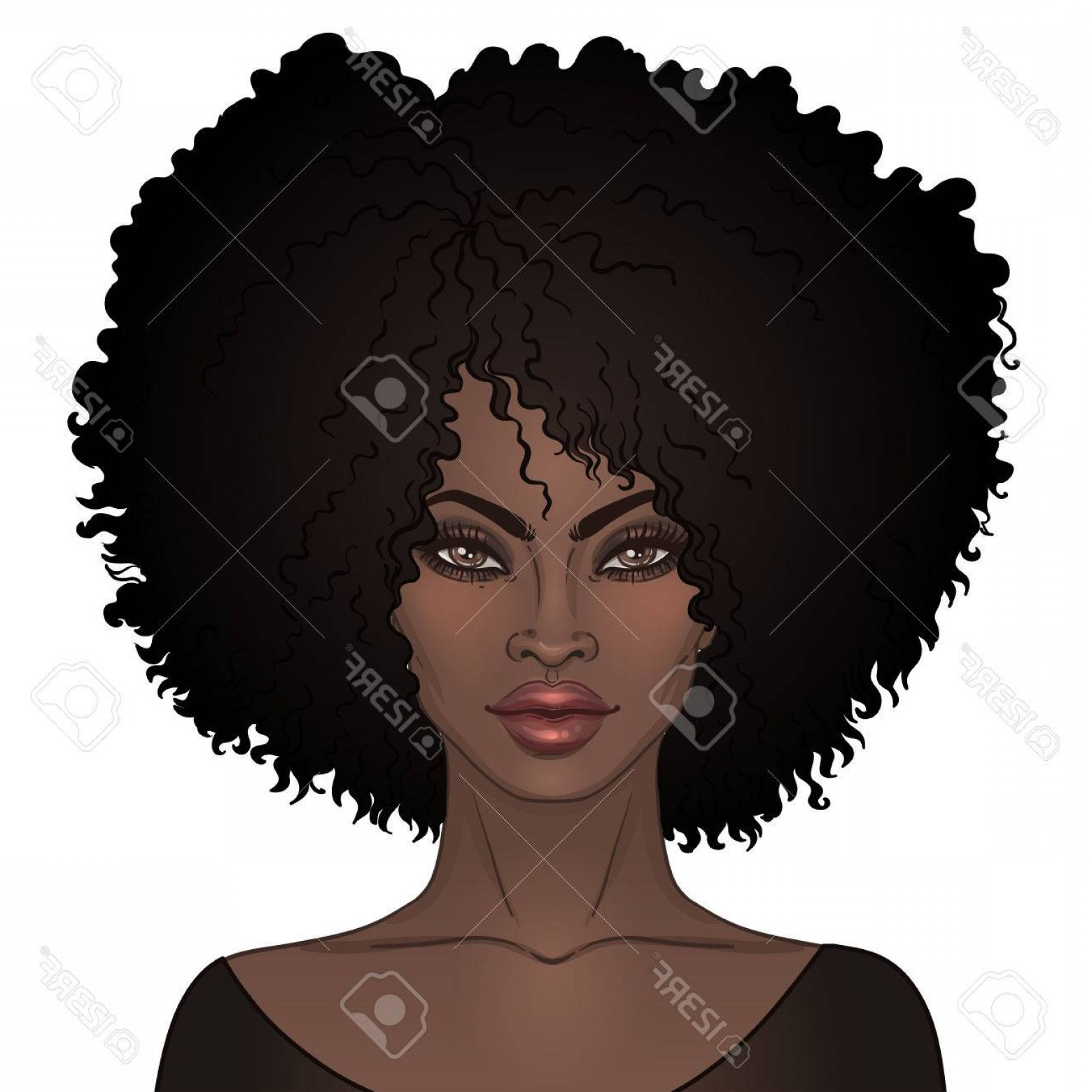 Black Woman Stock Vector: Photostock Vector African American Pretty Girl Vector Illustration Of Black Woman With Afro Hairstyle And Neck Great F