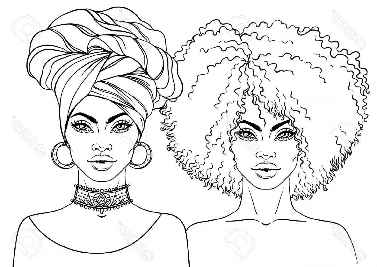 Black Woman Stock Vector: Photostock Vector African American Pretty Girl Vector Illustration Of Black Woman With Afro Hairstyle And Turban Great