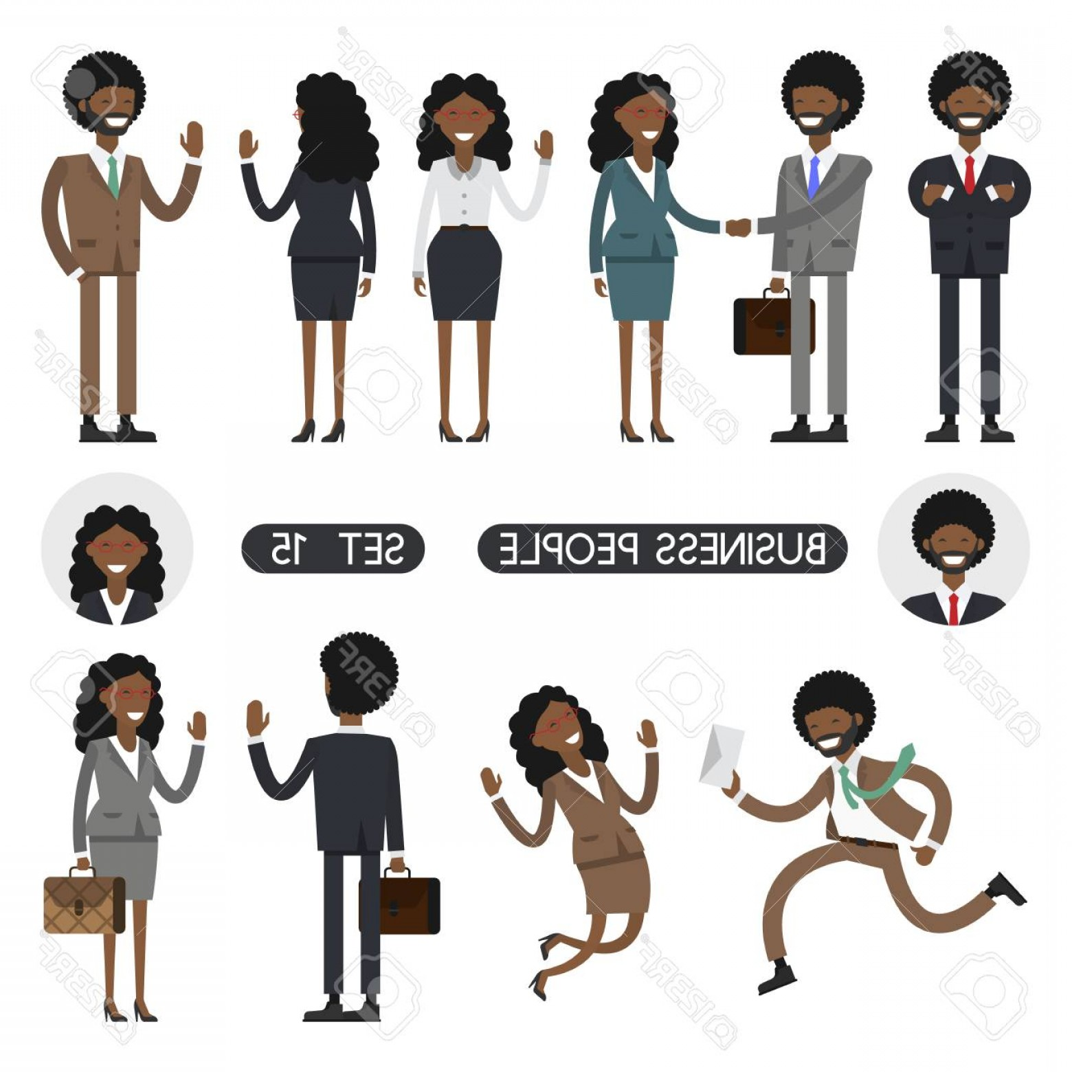 Vector African People: Photostock Vector African People On White Background Vector Illustration Different Movements Create A Scene Business P