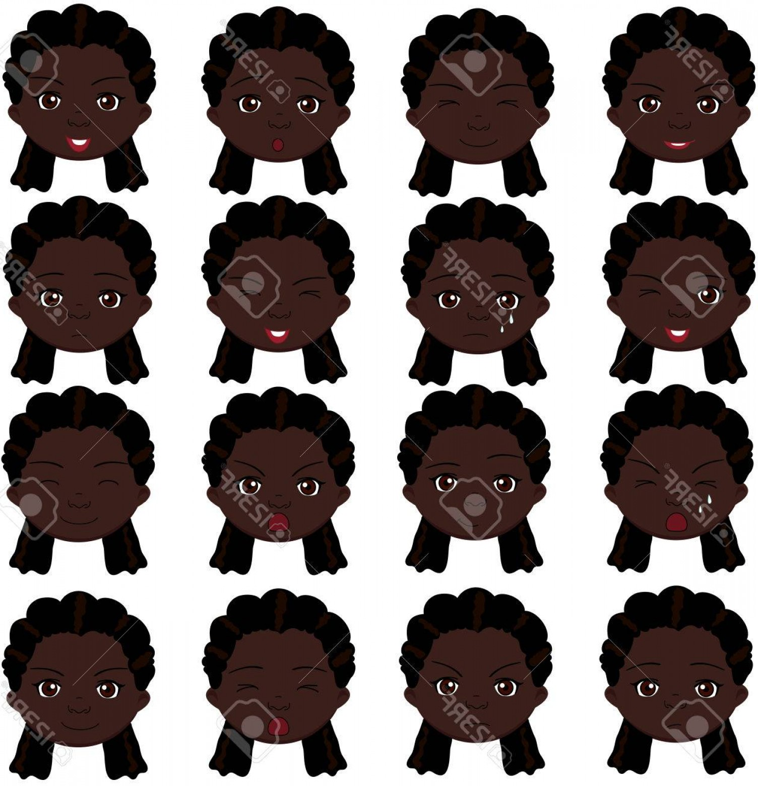 Fear The Beard Vector: Photostock Vector Afro Girl Emotions Joy Surprise Fear Sadness Sorrow Crying Laughing Cunning Wink Vector Cartoon Illu