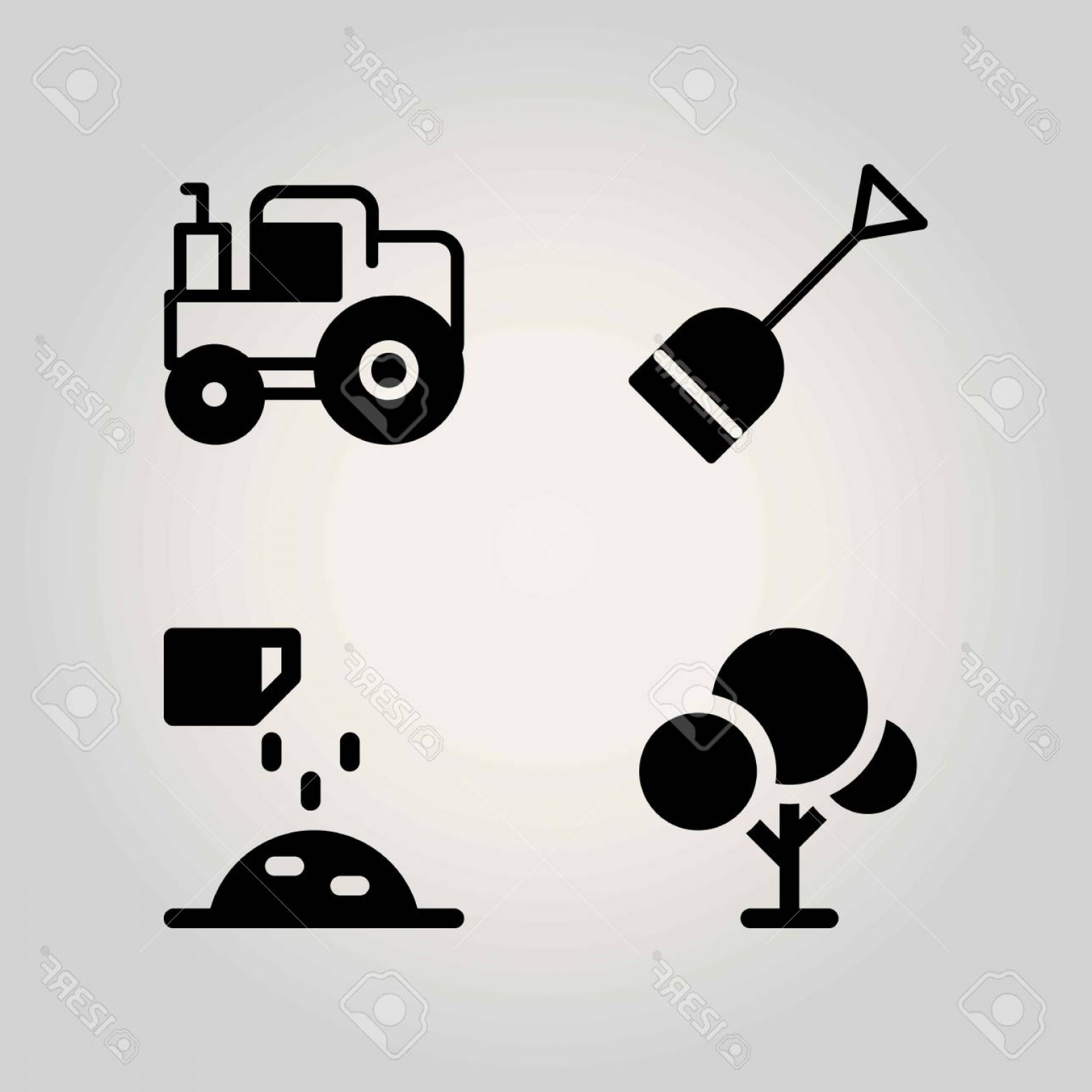 Agriculture Vector Icons: Photostock Vector Agriculture Vector Icon Set Tree Ground Shovel And Fertilizer