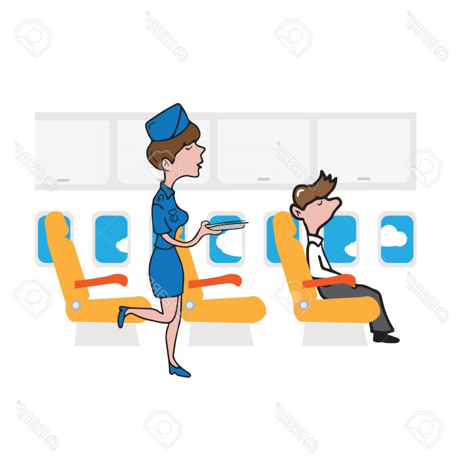 Vector Man Working In Cabin: Photostock Vector Airplane Cabin Passenger Businessman And Air Hostess