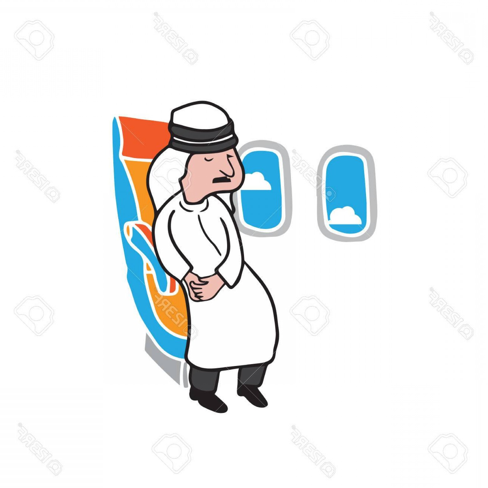 Vector Man Working In Cabin: Photostock Vector Airplane Cabin Passenger Islamic Arab Man