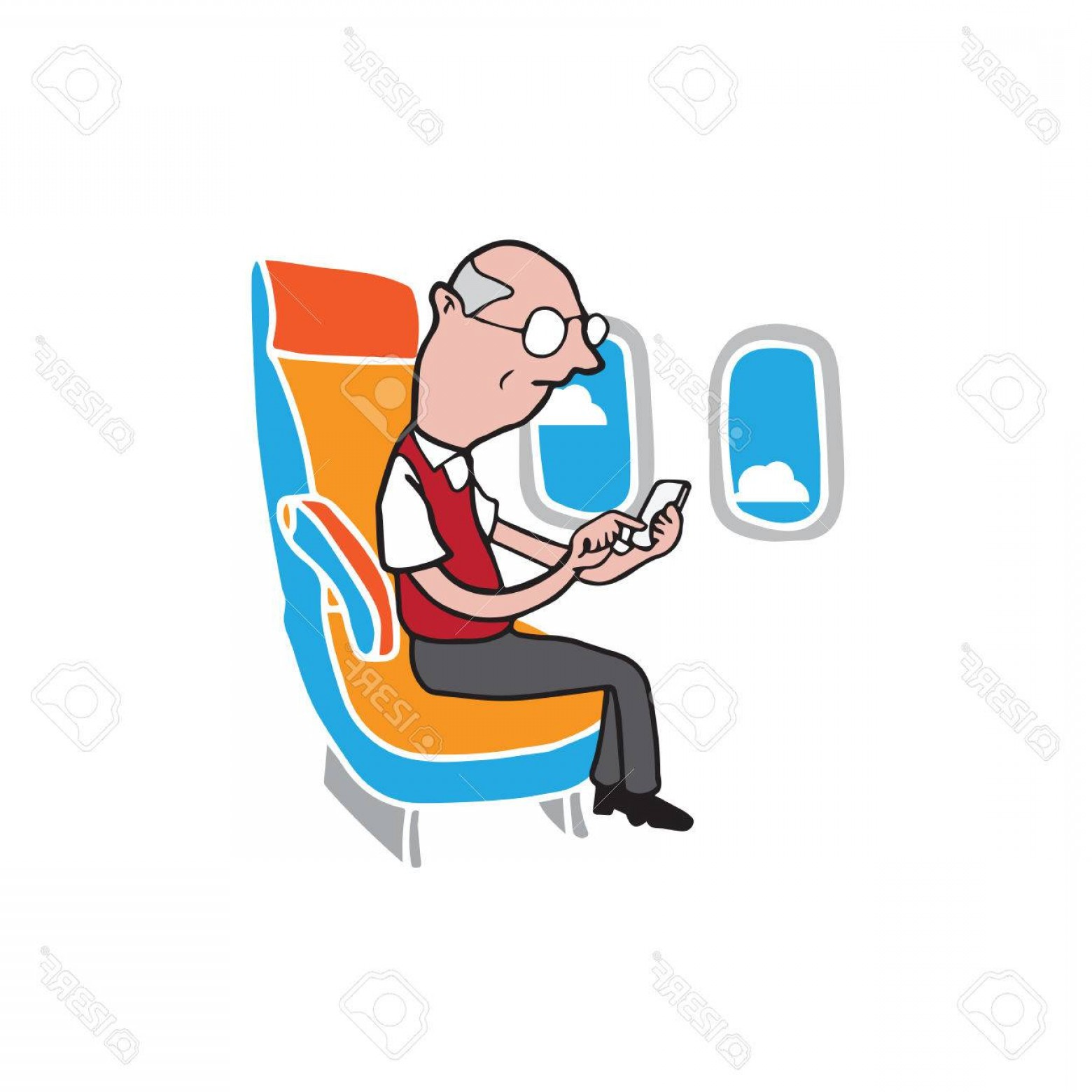 Vector Man Working In Cabin: Photostock Vector Airplane Cabin Passenger Old Man Using Smart Phone