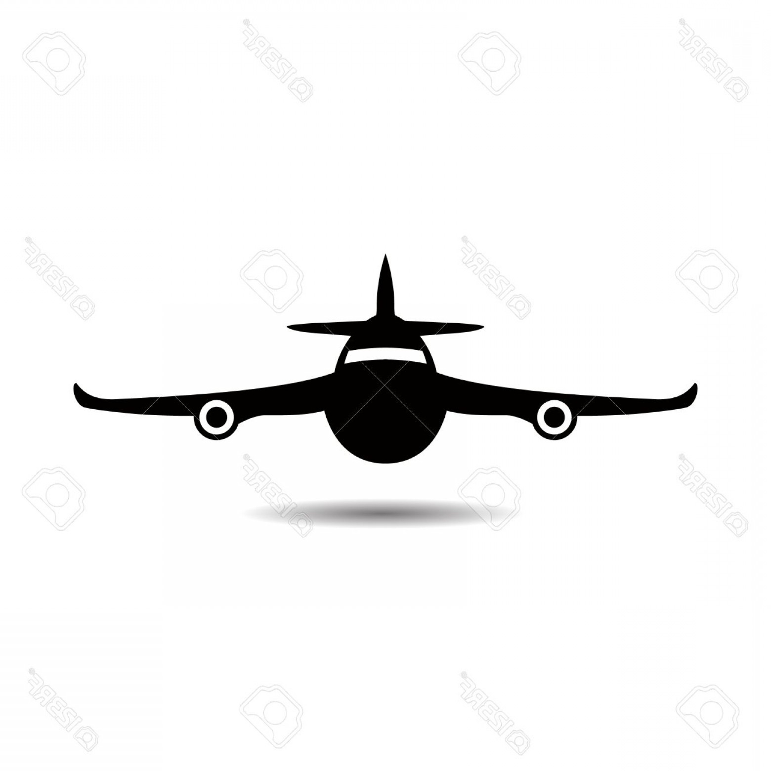 Vector Airplane Symbol: Photostock Vector Airplane Symbol Silhouette Black Icon Front View