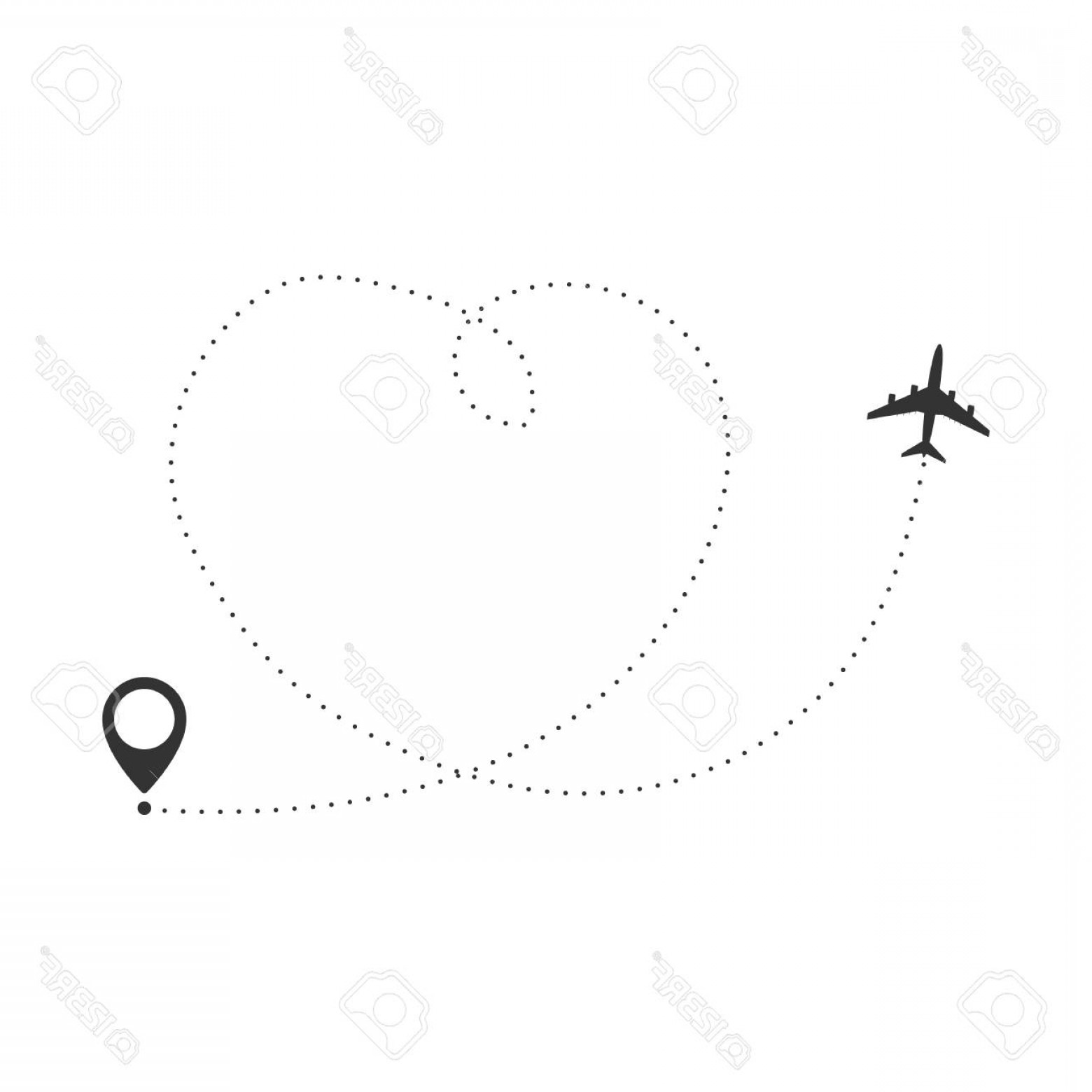 Black Heart And Plane Vector: Photostock Vector Airplane Travel Concept Plane With Destinations Points And Dash Route Line Vector Silhouette Illustr