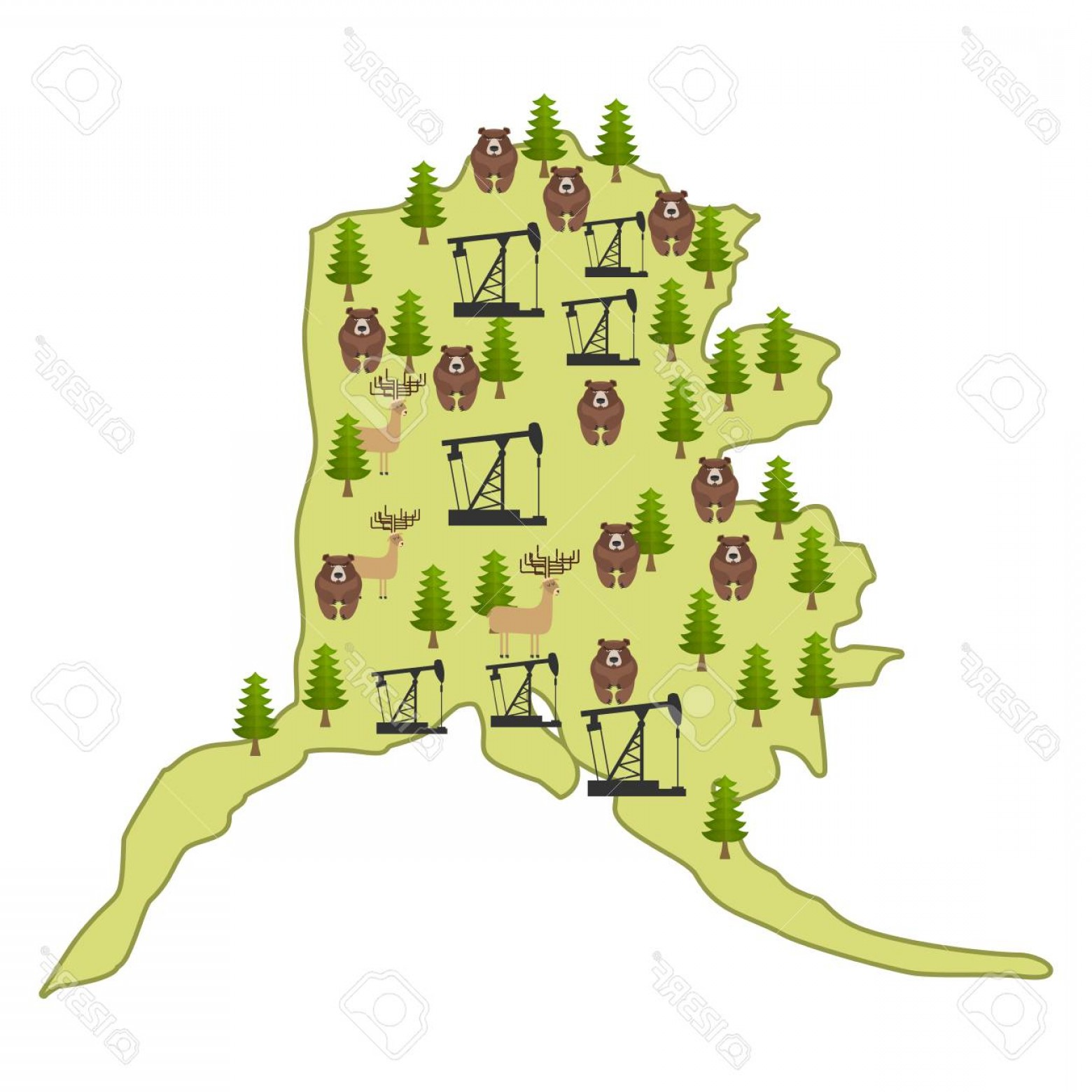 Alaska Moose Vectors: Photostock Vector Alaska Map Isolated Moose And Bear Forest And Oil Rig