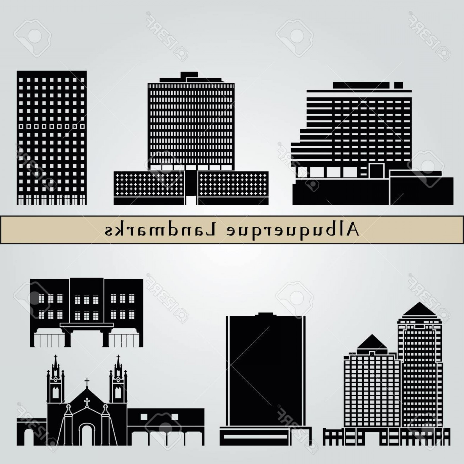Vector Albuquerque: Photostock Vector Albuquerque Landmarks And Monuments Isolated On Blue Background In Editable Vector File