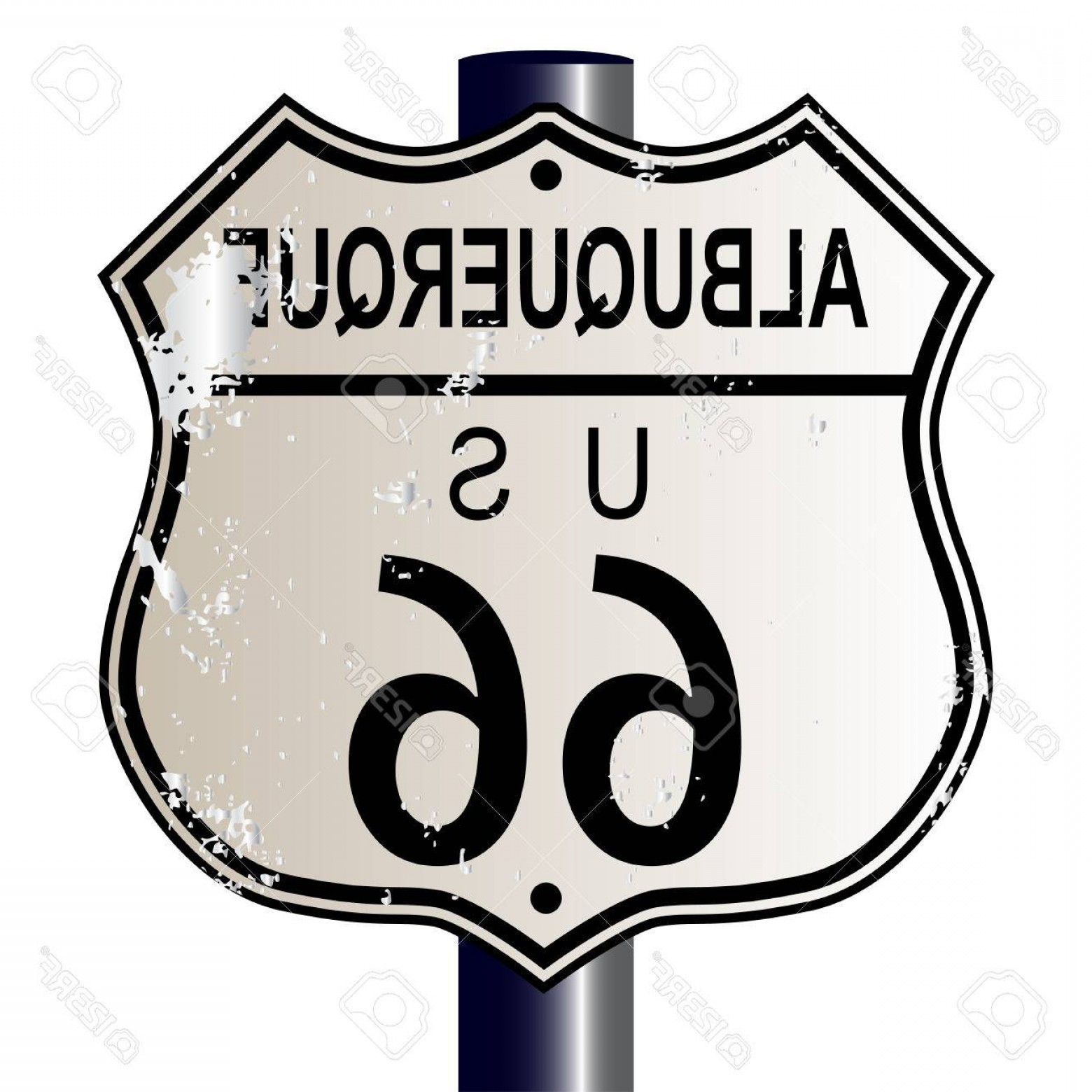 Vector Albuquerque: Photostock Vector Albuquerque Route Traffic Sign Over A White Background And The Legend Route Us