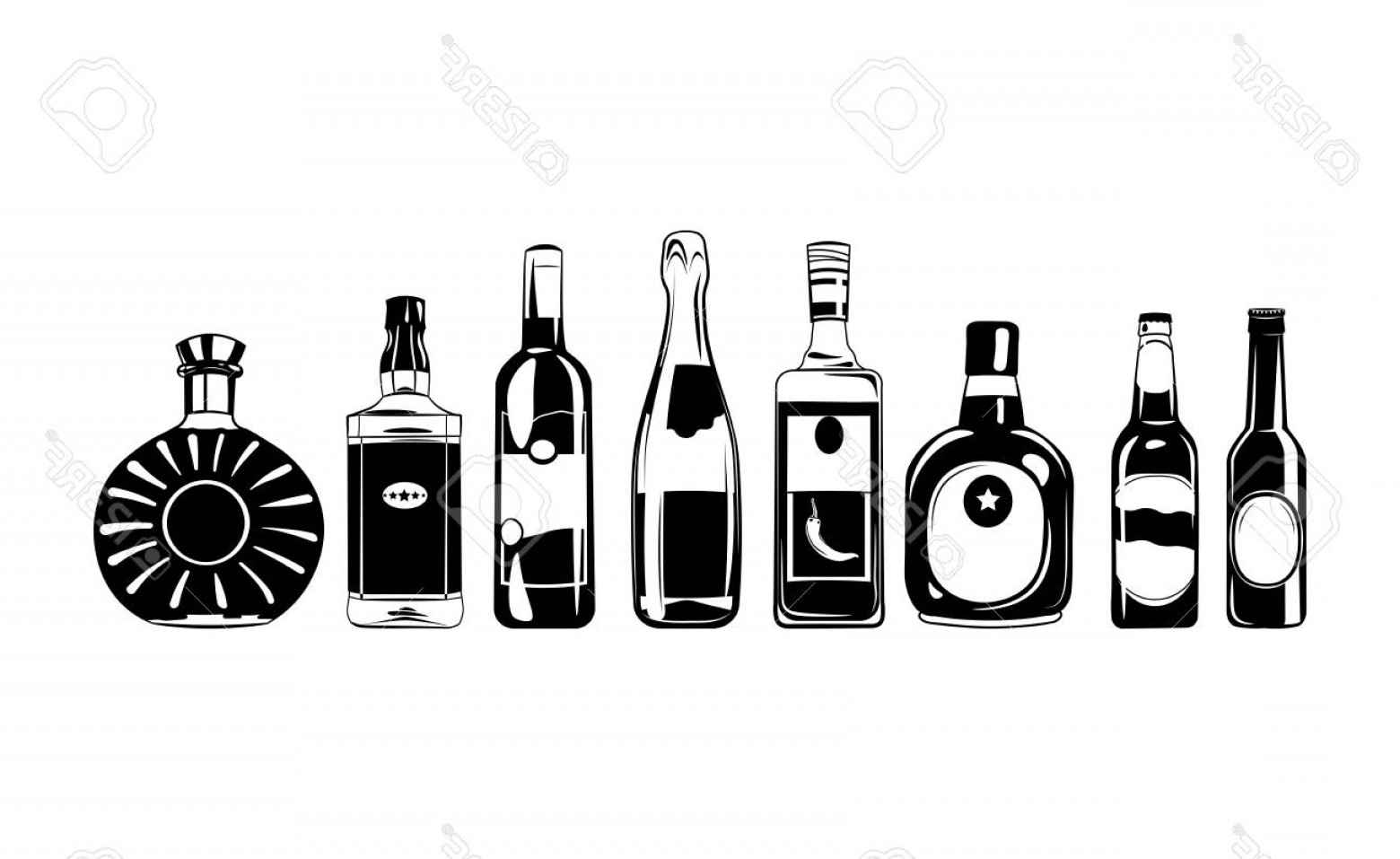 Alcohol Vector: Photostock Vector Alcohol Bottles Set Vector Design Elements Illustration Isolated On White Background