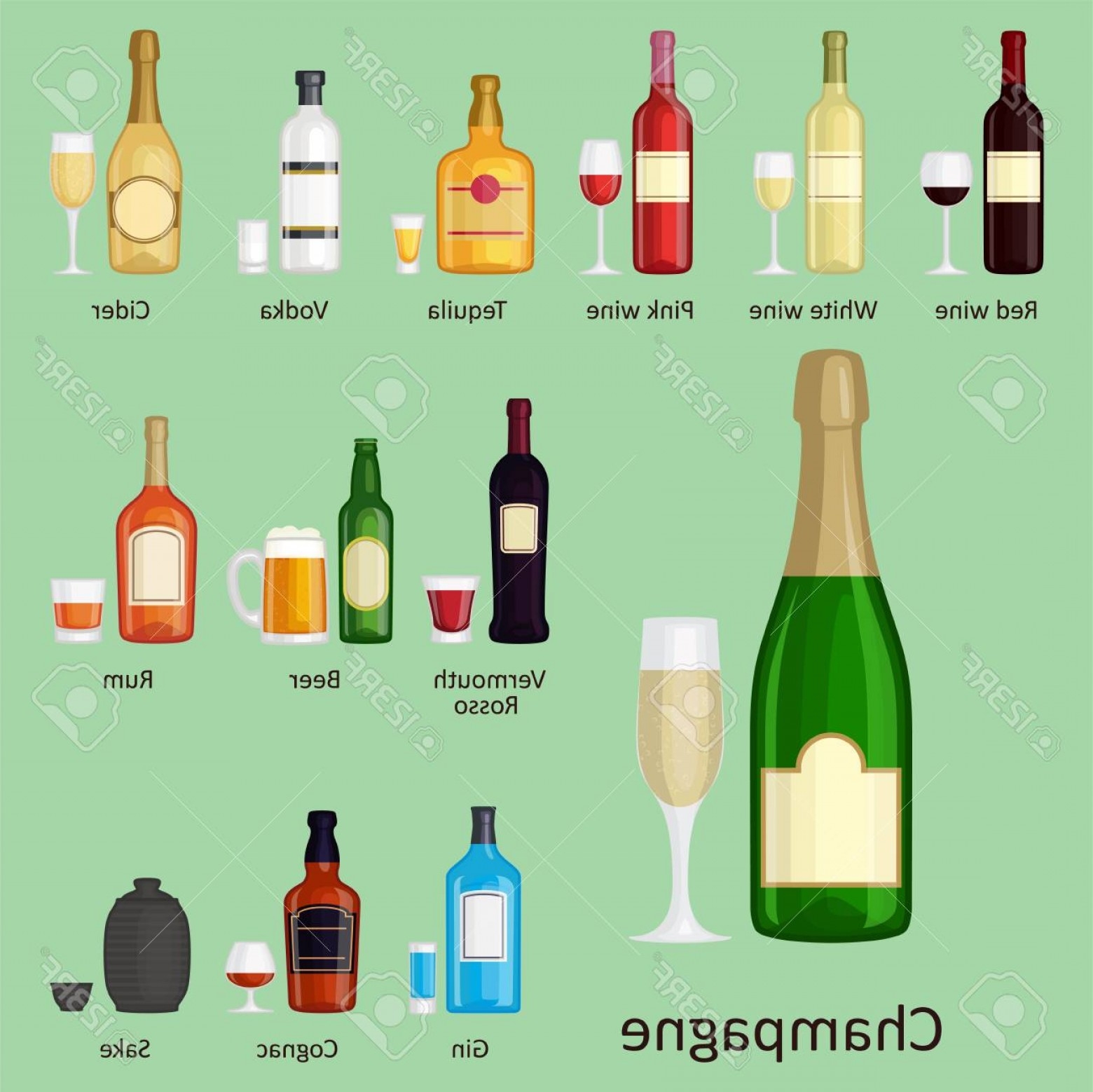 Booze Bottle Vector: Photostock Vector Alcohol Drinks Beverages Cocktail Whiskey Bottle Vector Illustration