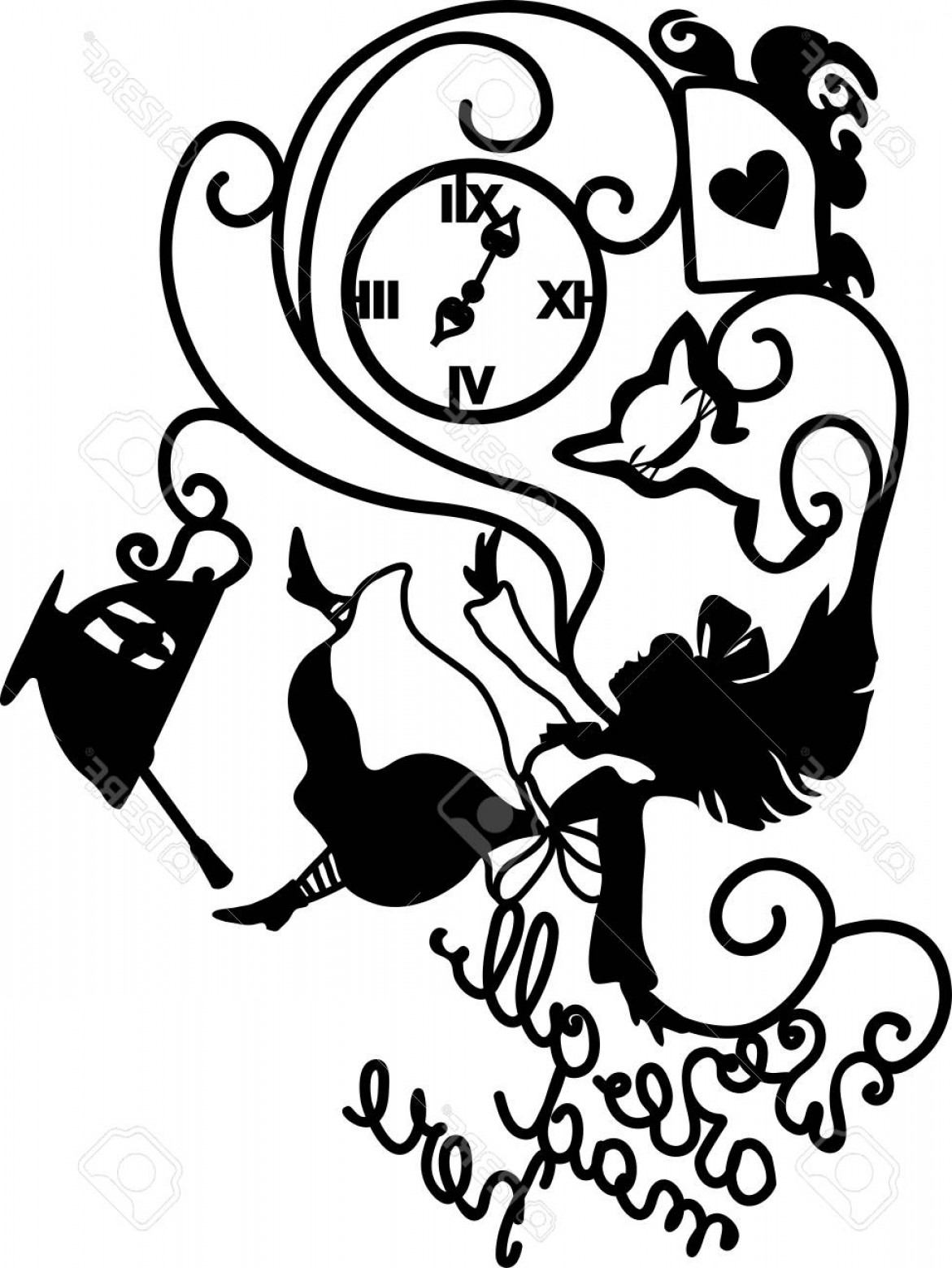 Mad Vector: Photostock Vector Alice In Wonderland Vector Illustration We Are All Mad Here Fantasy Stylish Illustration For Cafe Me