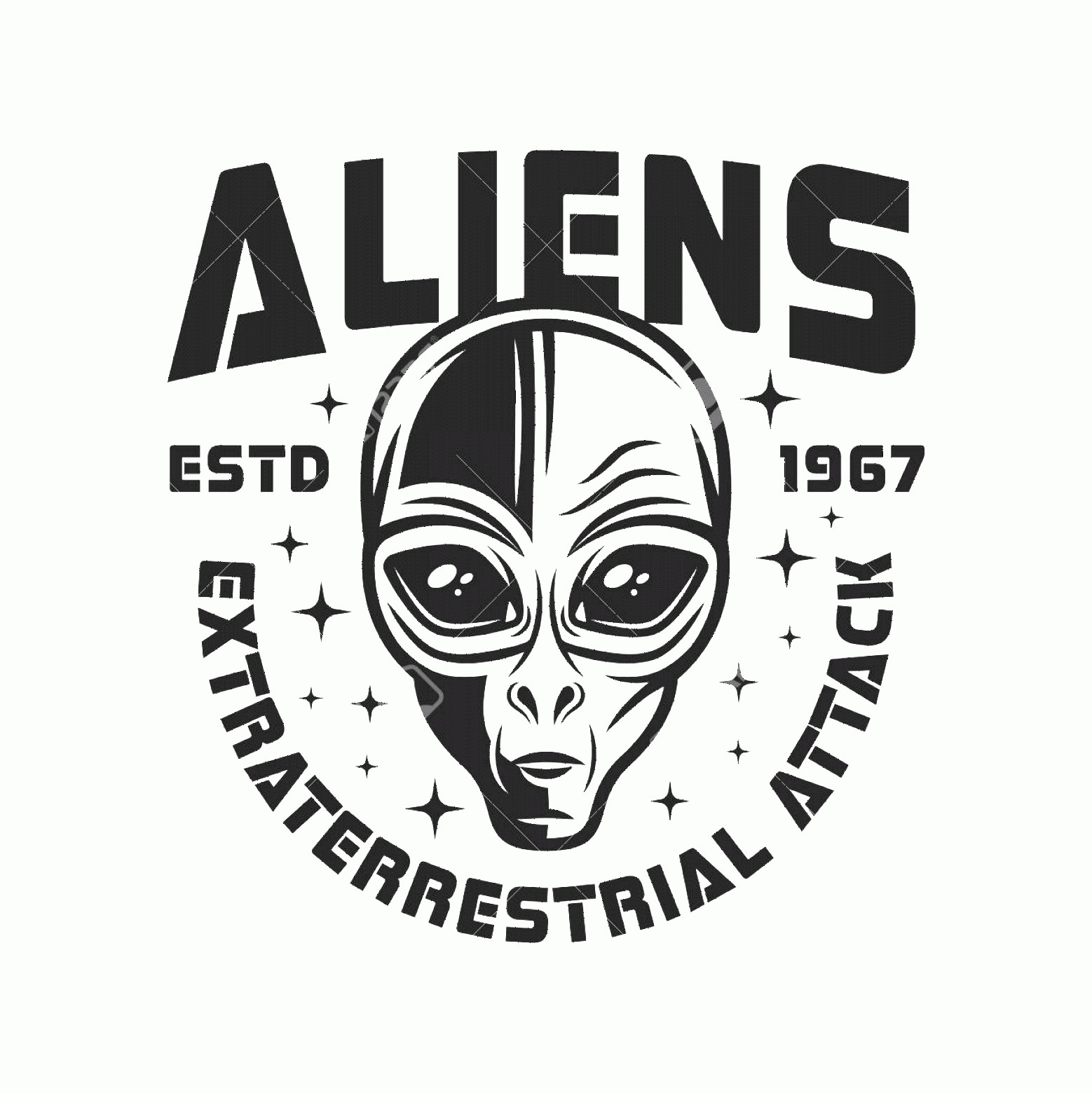 Alien Head Vector: Photostock Vector Alien Head Vector Emblem In Vintage Monochrome Style Isolated On White Background