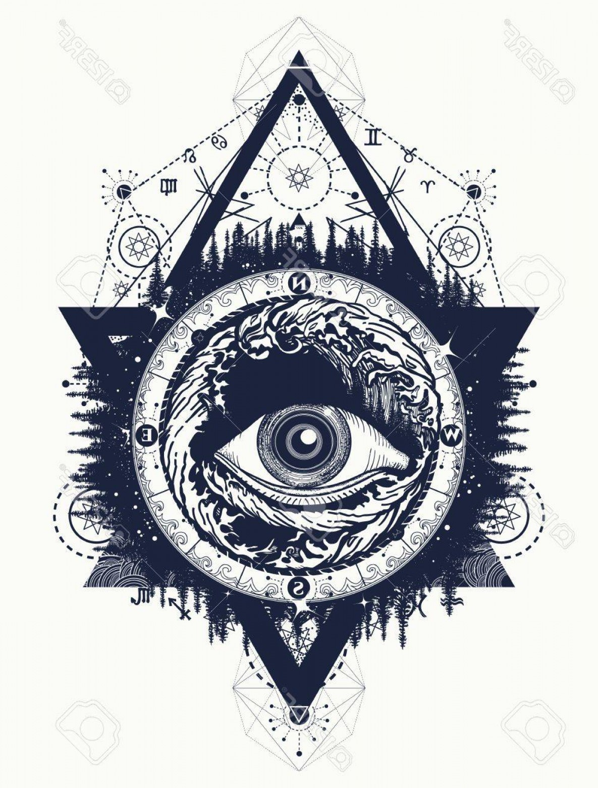 Eye Tatoo Vector: Photostock Vector All Seeing Eye Tattoo Tourism In A Mystical Style Vector Eye Of The Storm Art T Shirt Design Alchemy