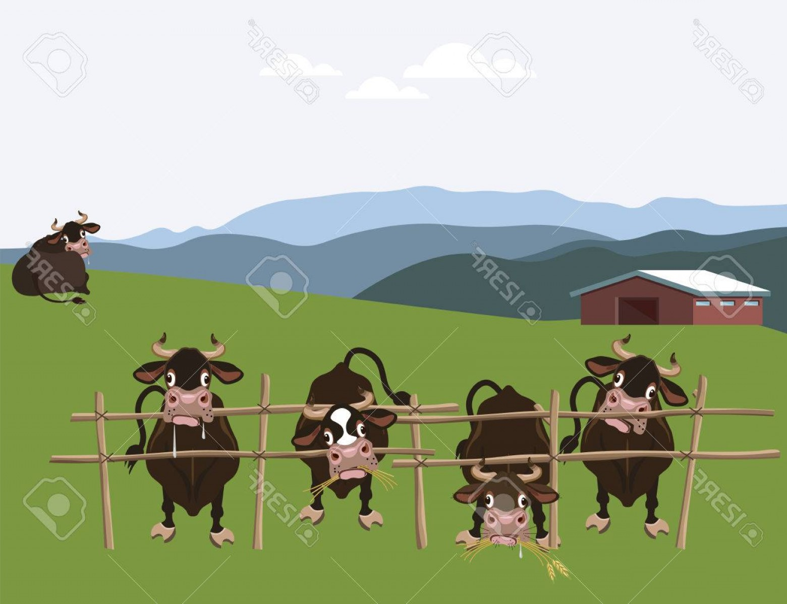Farm Vector Illustration: Photostock Vector Alpine Cattle Farm Vector Illustration