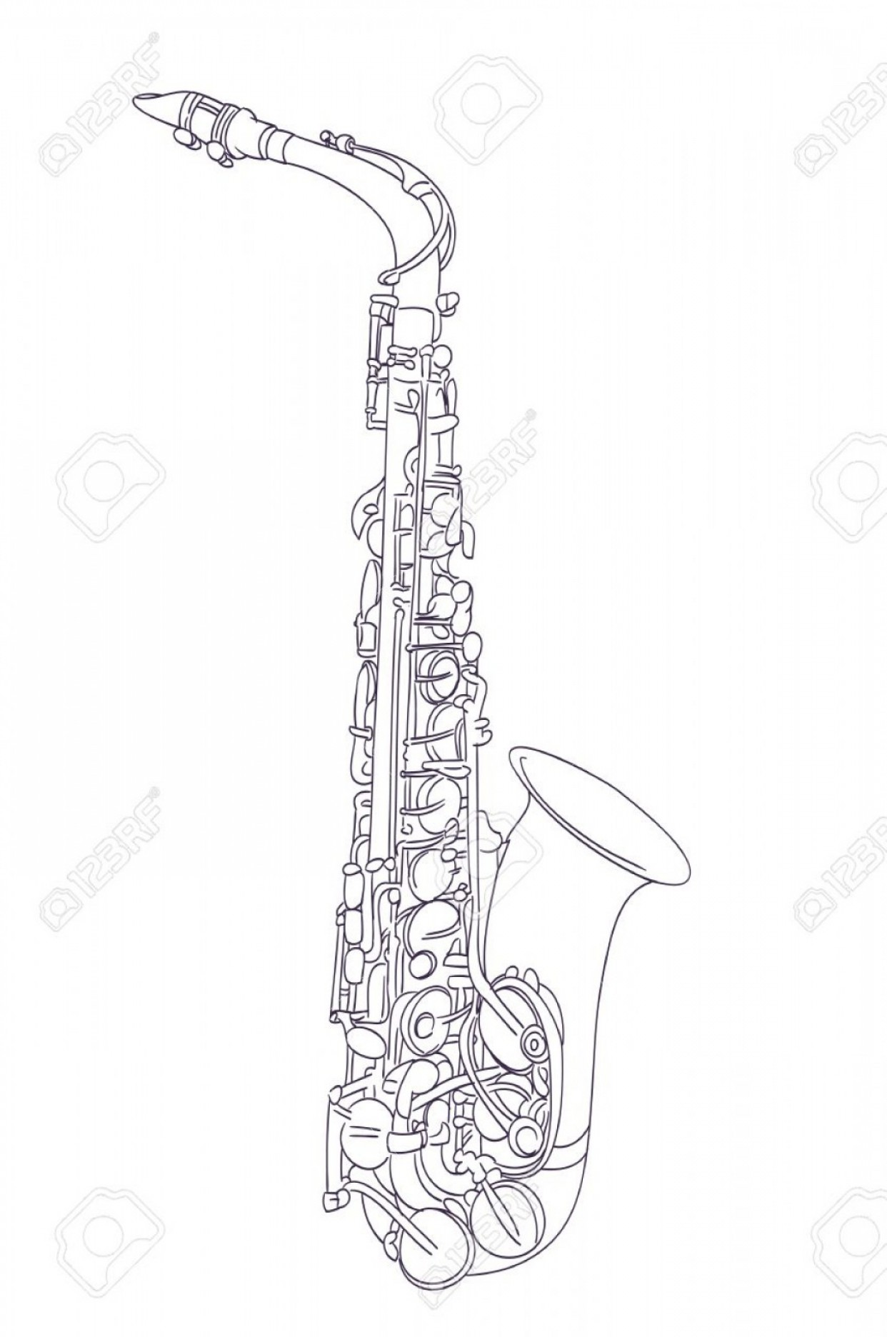 Alto Saxophone Vector Graphics: Photostock Vector Alto Saxophone Drawing On White Vector