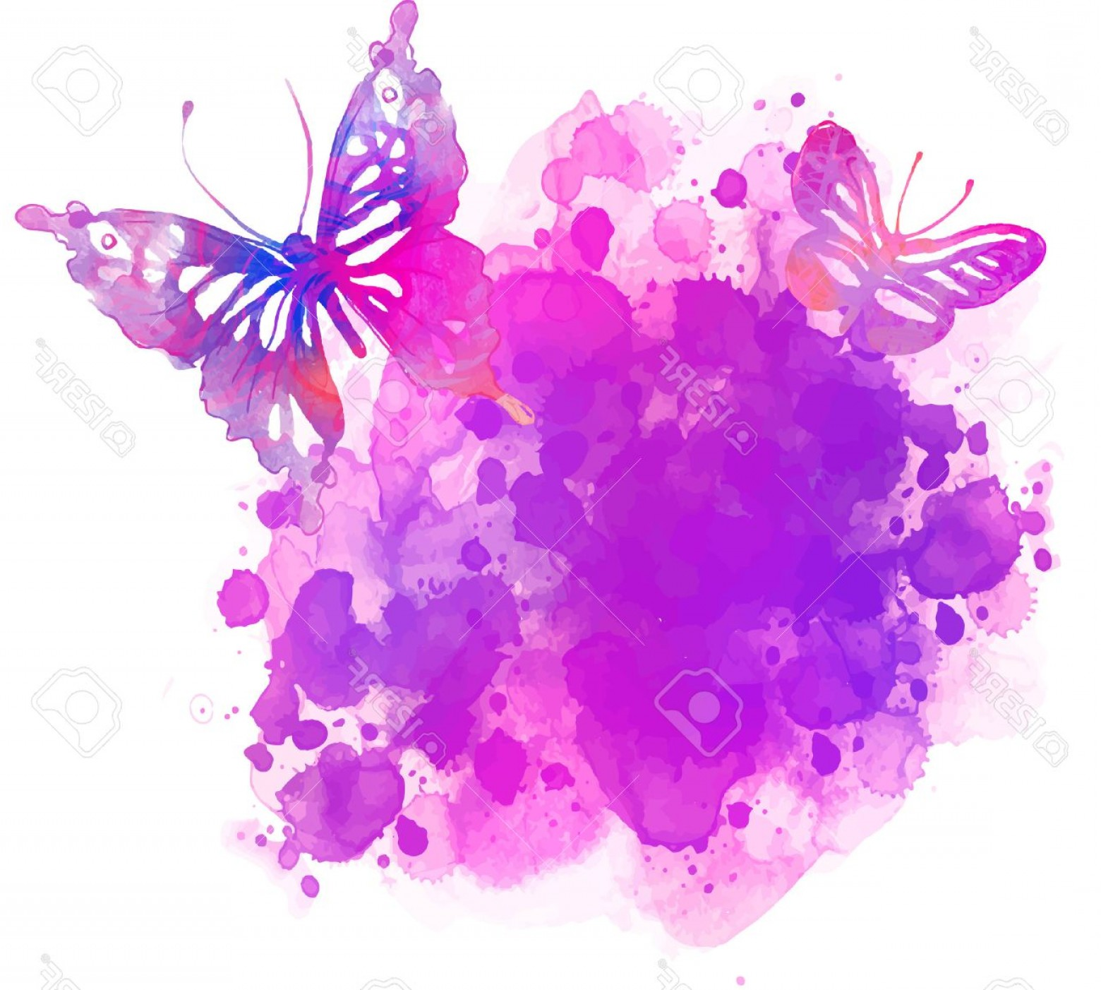 Butterly Vector: Photostock Vector Amazing Watercolor Background With Butterfly Vector Art Isolated On White