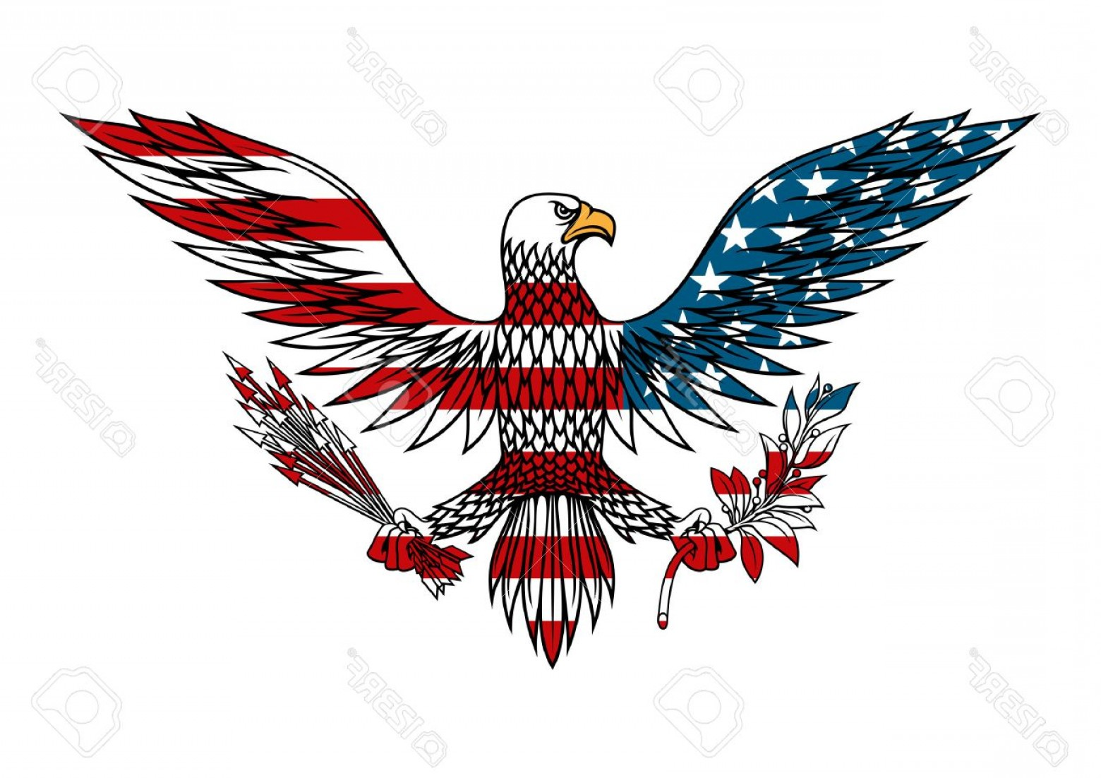 Patriotic Bald Eagle Vector: Photostock Vector American Eagle Icon With Outstretched Wings Holds Bundle Of Arrows And Olive Branch In Talons For Ta