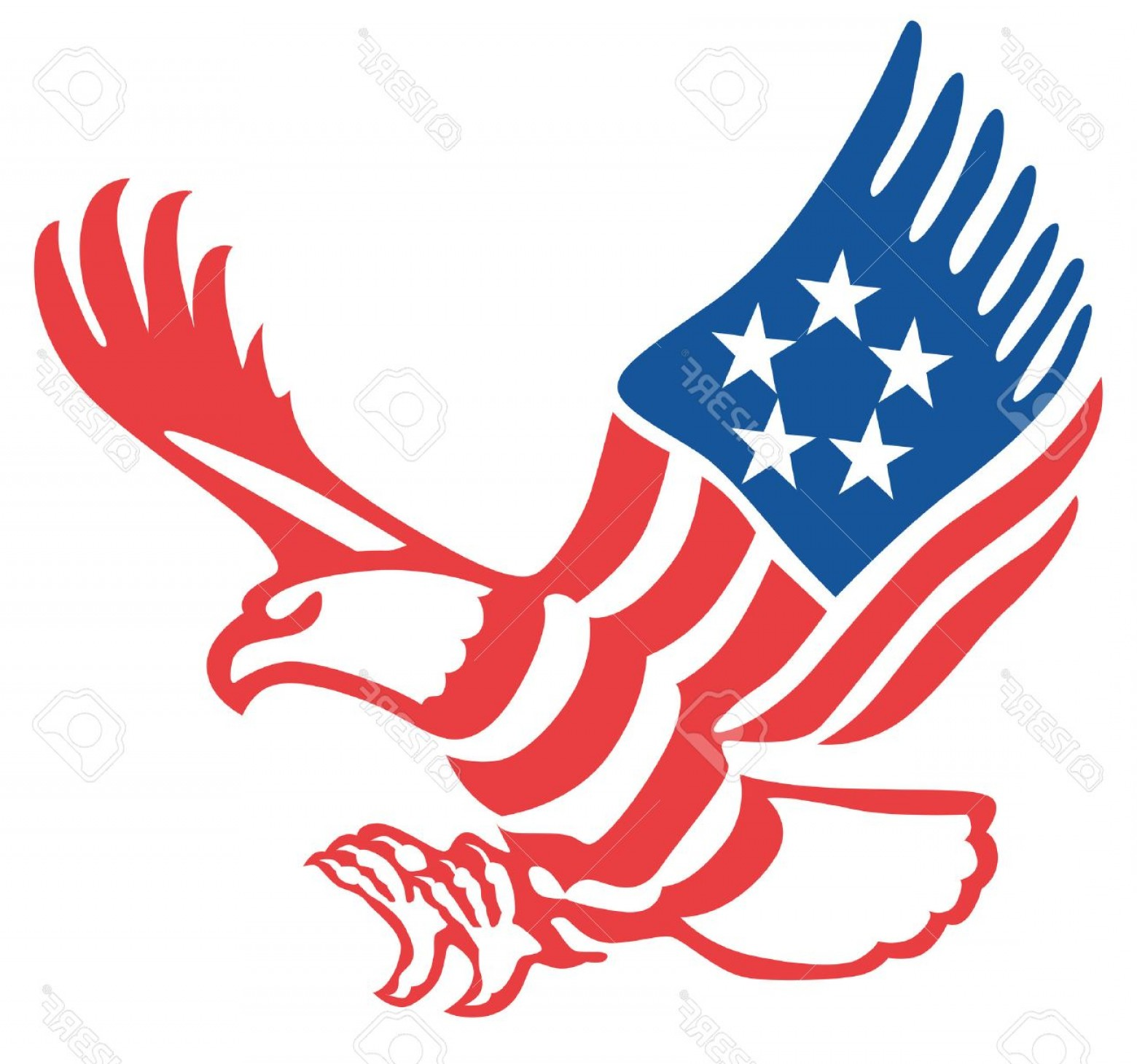 Patriotic Bald Eagle Vector: Photostock Vector American Eagle In The Patriotic Colors On The Fly