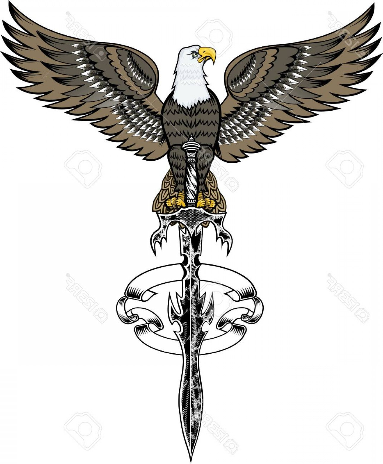 Vector Eagle Shield Sword: Photostock Vector American Eagle With Sword Illustration