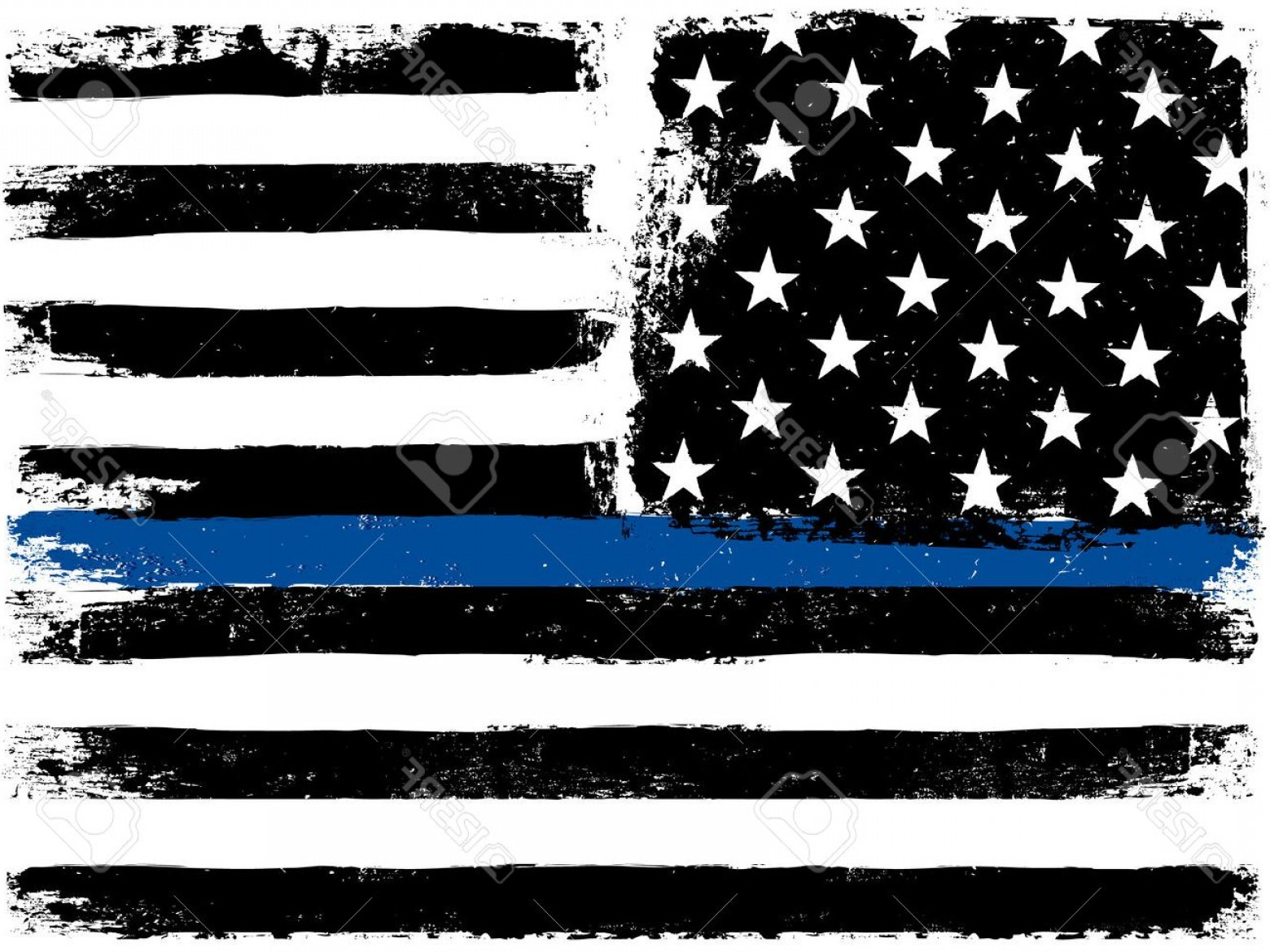 US Flag Vector Lines: Photostock Vector American Flag With Thin Blue Line Grunge Aged Background Monochrome Gamut Black And White