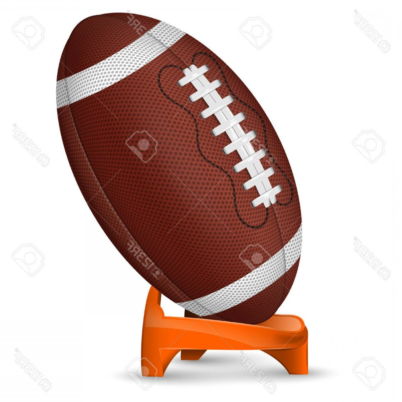 High Res Vector American Football: Photostock Vector American Football Poster With Ball And Stand Vector Icon Isolated On White Background