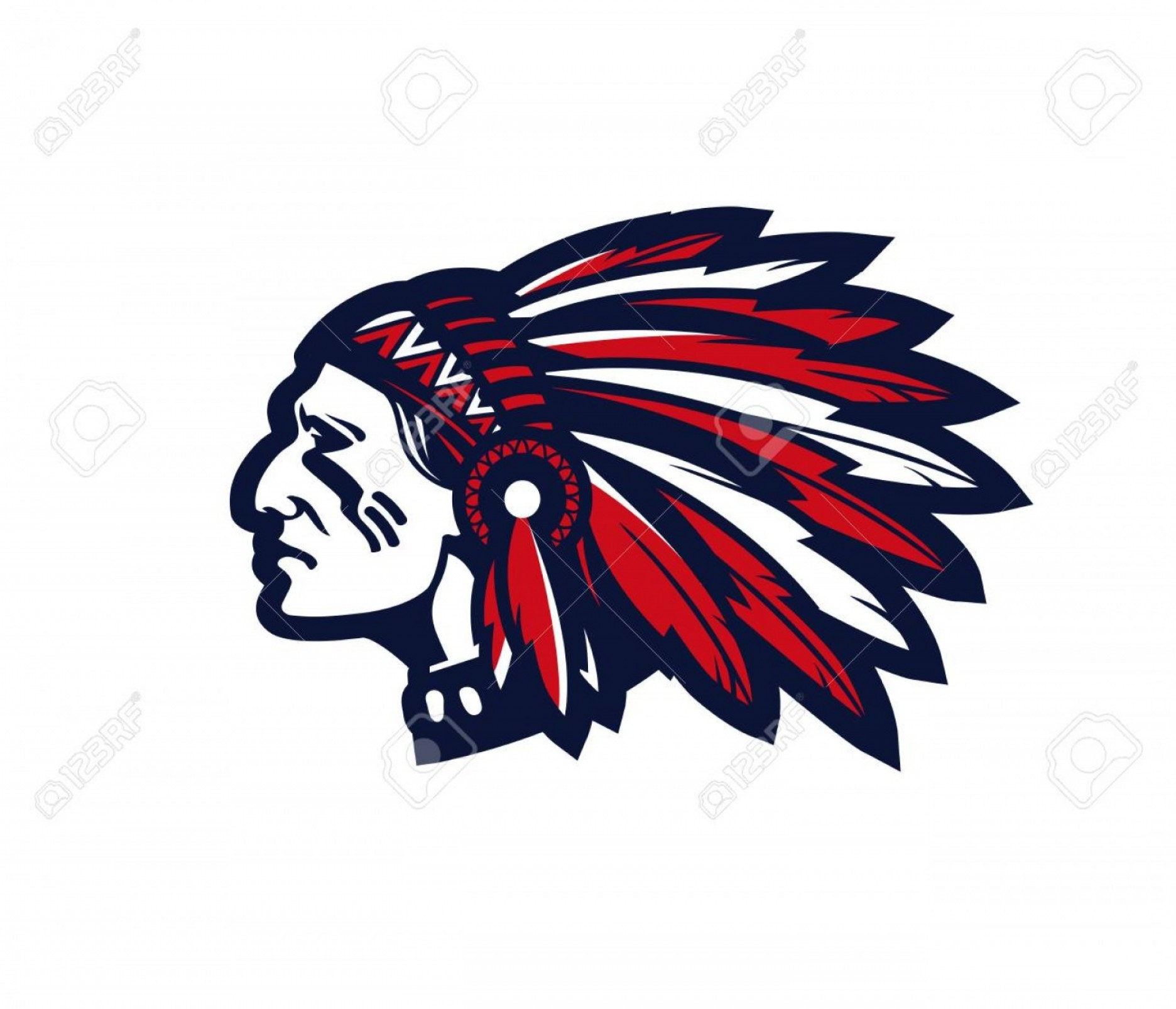 American Indian Chief Vector: Photostock Vector American Indian Chief Vector Logo Or Icon Isolated On White Background