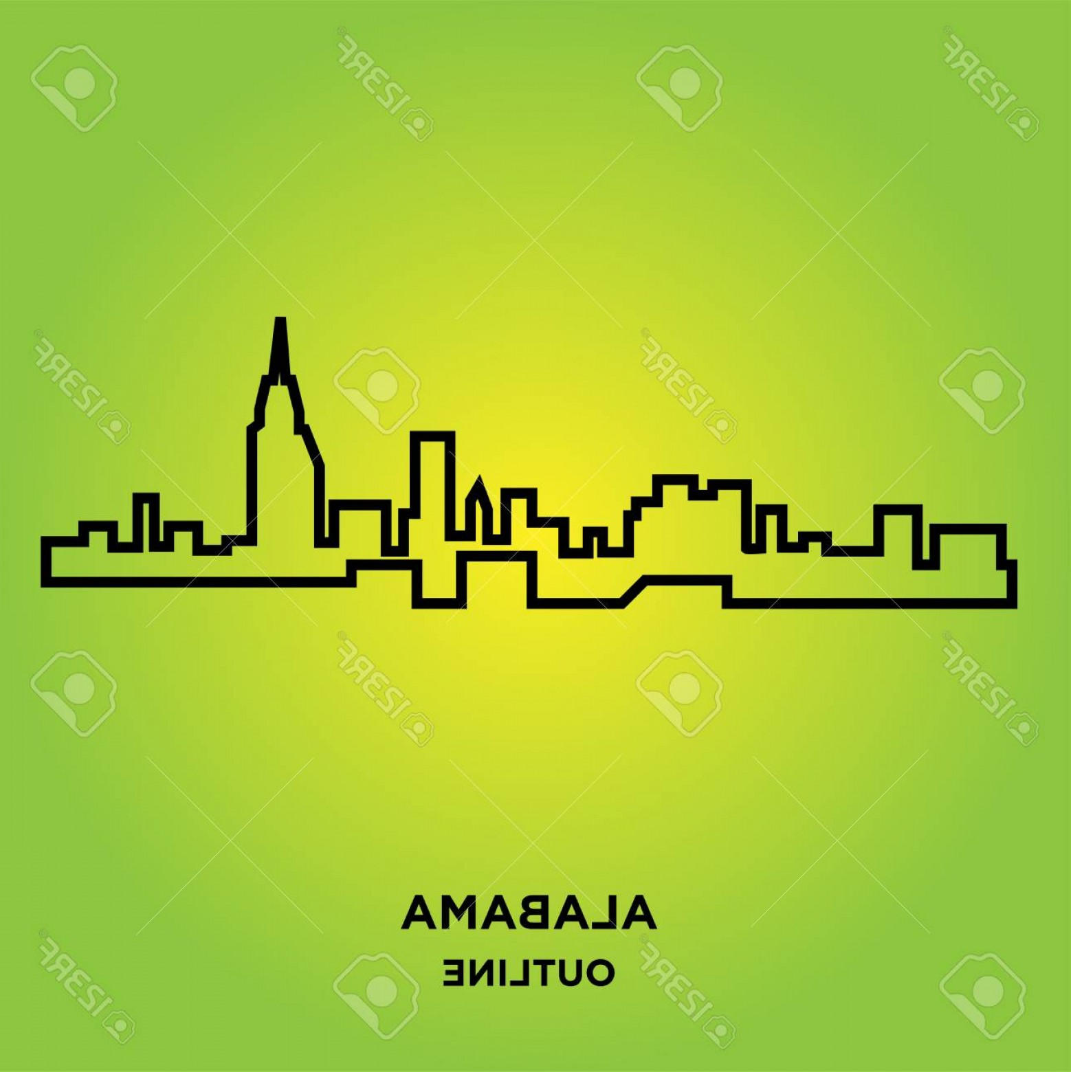 Alabama Outline Vector: Photostock Vector An Alabama Outline On Green Background